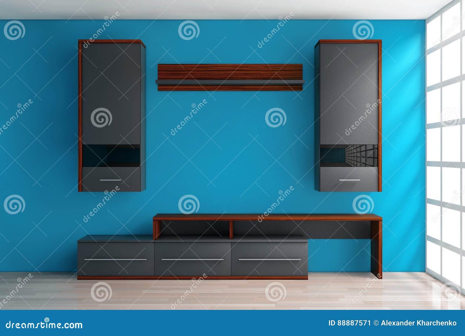 现代客厅组合壁橱在屋子里 3d翻译