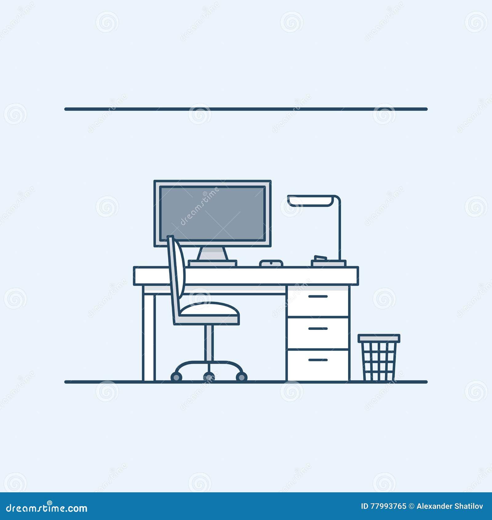 现代室内设计工作场所在家或办公室 计算机和台灯 椅子和废字纸篓 向量