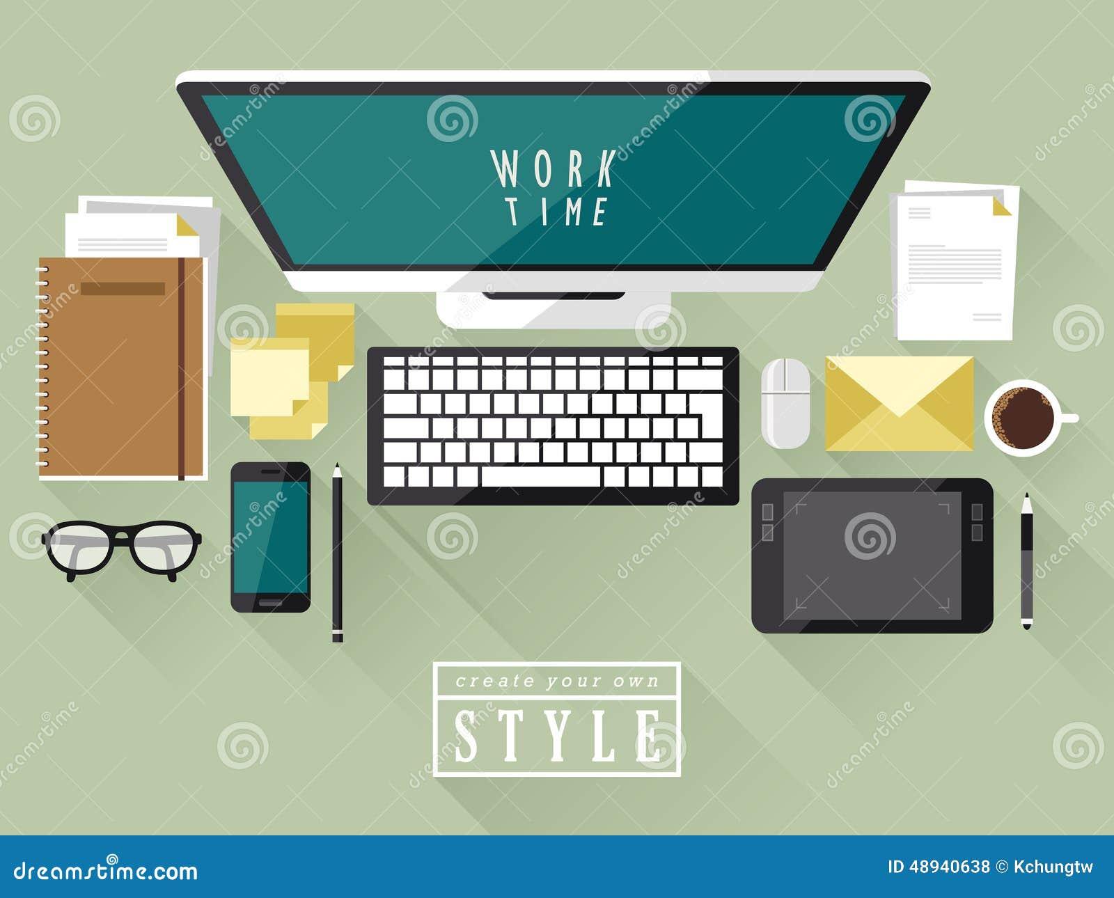 现代工作场所顶视图