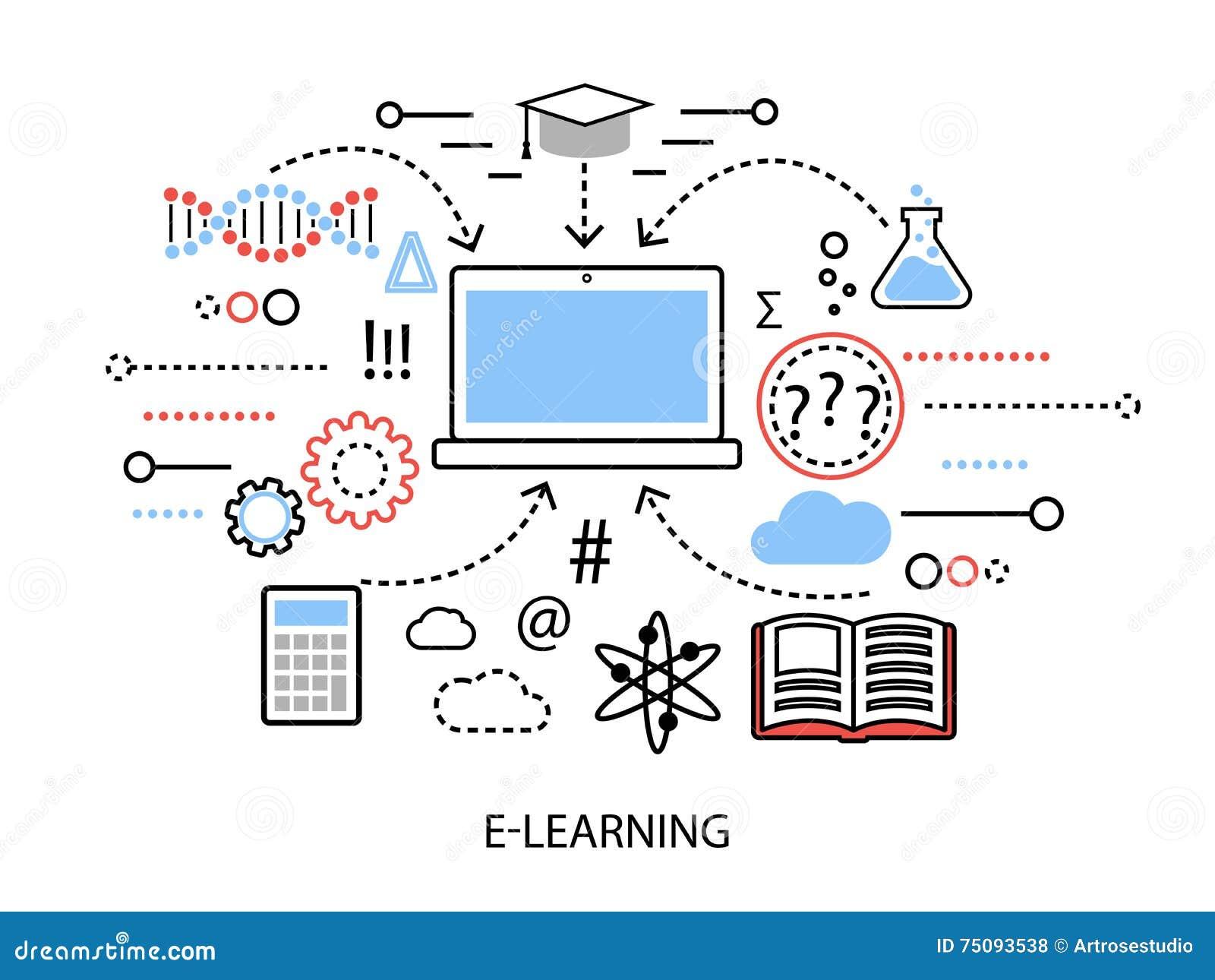 现代平的稀薄的线设计传染媒介例证、互联网学习的过程的infographic概念和在st的计算机科技