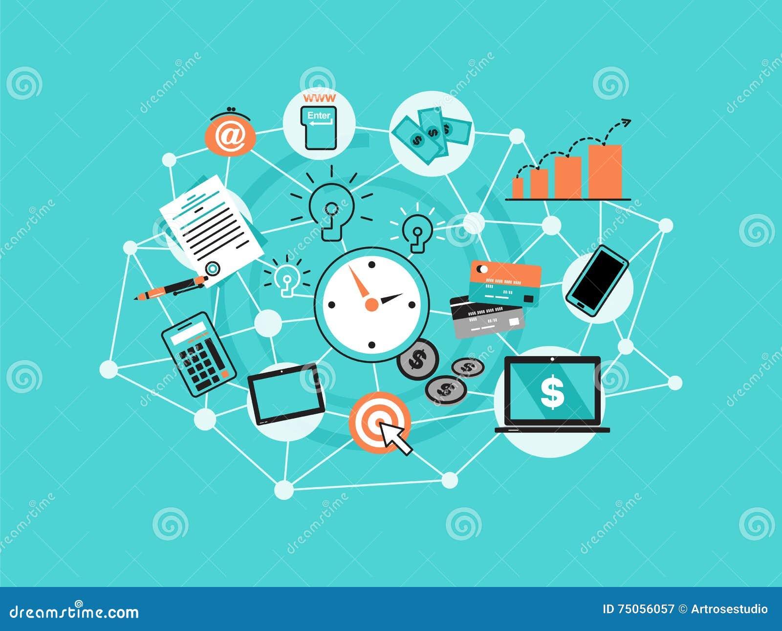 现代平的稀薄的线设计传染媒介例证,与网上事务,互联网营销想法, offi象的infographic概念