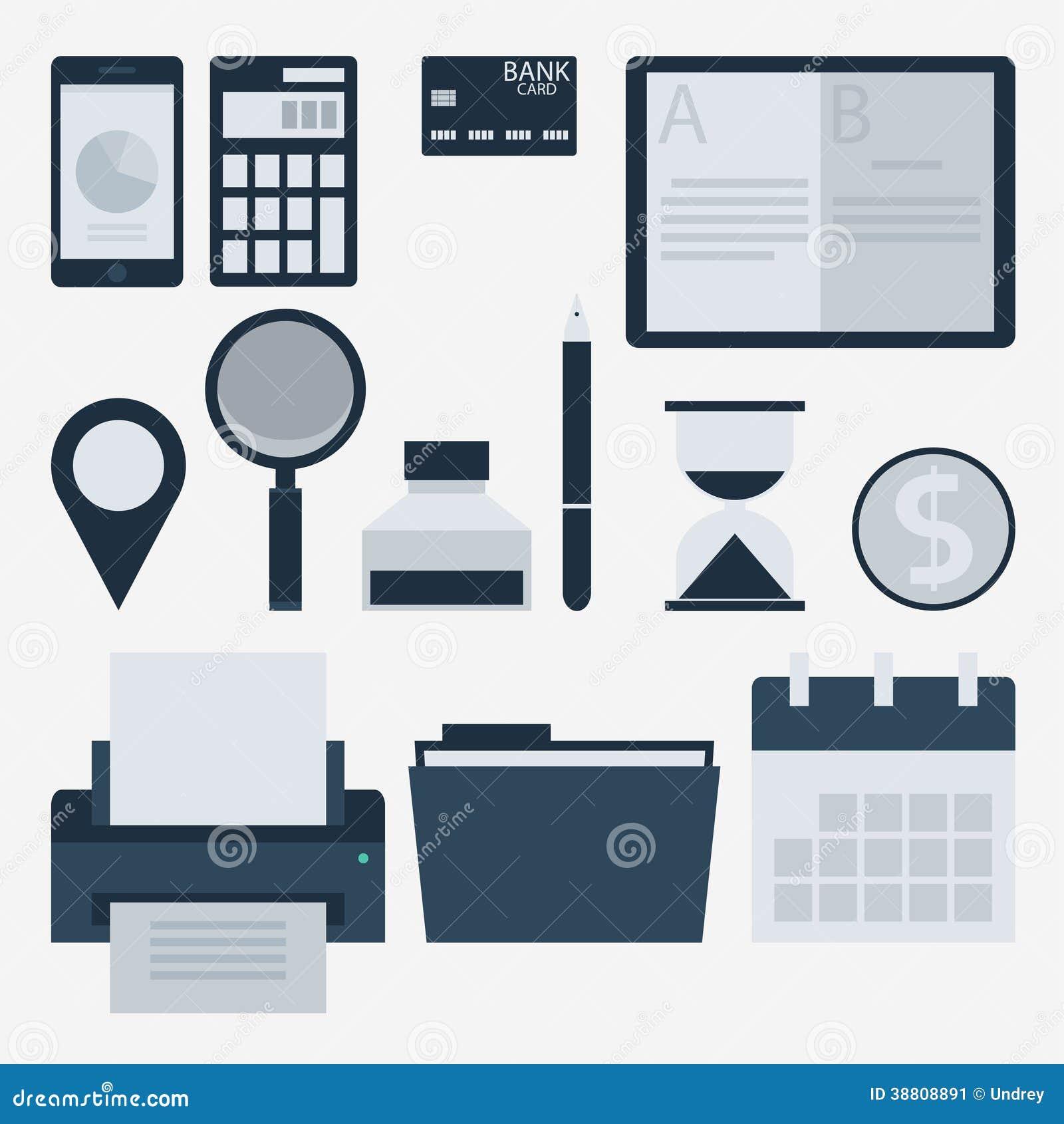 现代平的象收藏、网络设计对象、事务、财务、办公室和营销项目