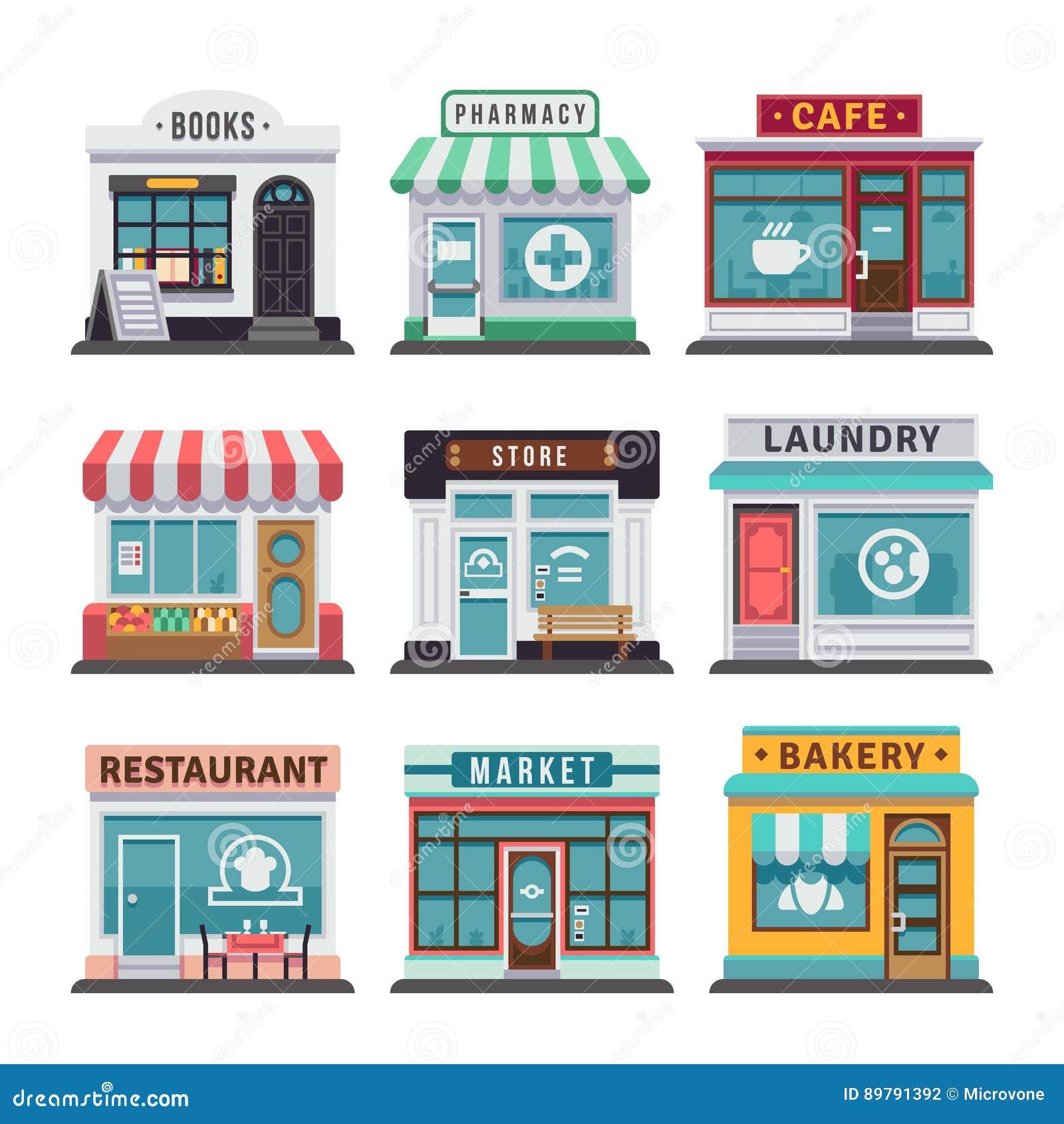 现代快餐餐馆和工厂建筑物,商店门面,与陈列室平的象的精品店