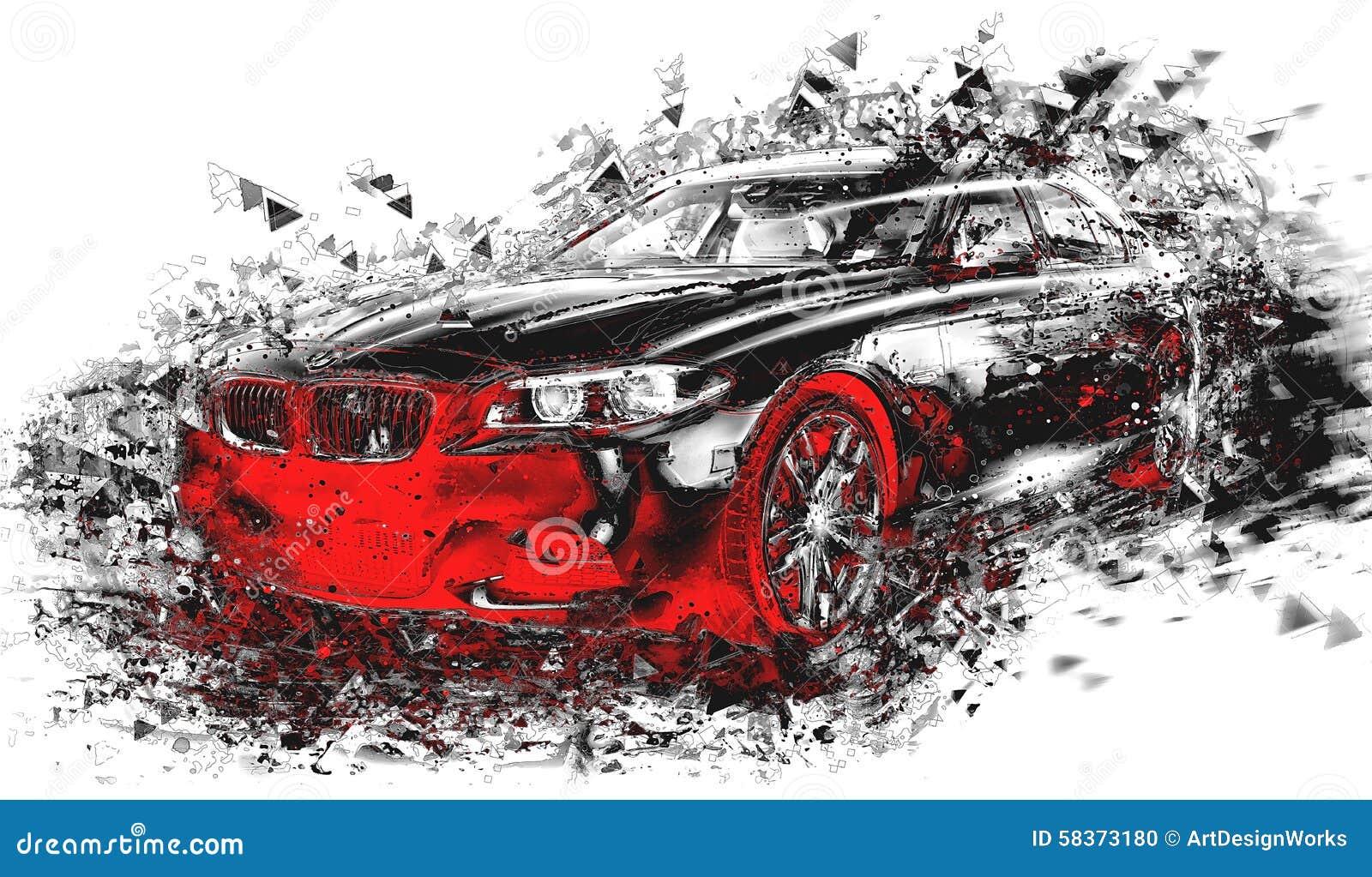 现代抽象汽车艺术