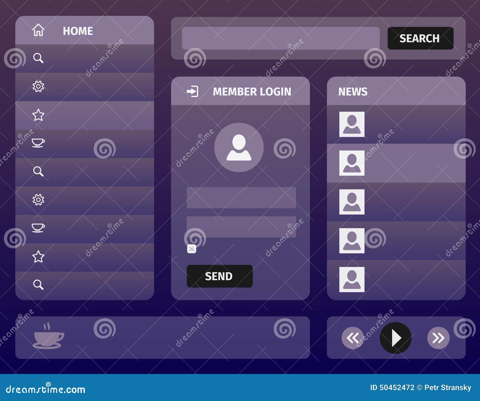 现代紫色流动用户界面设计图片