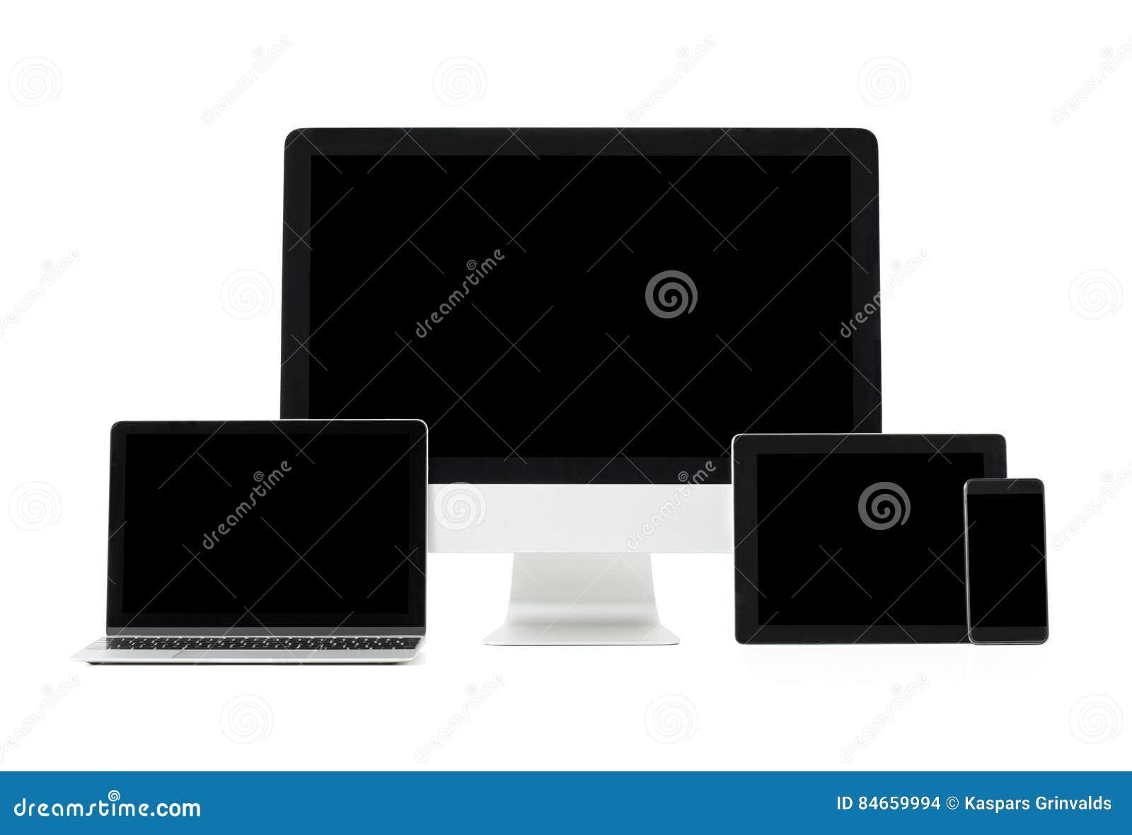 现代计算机和技术小配件不同的大小的屏幕