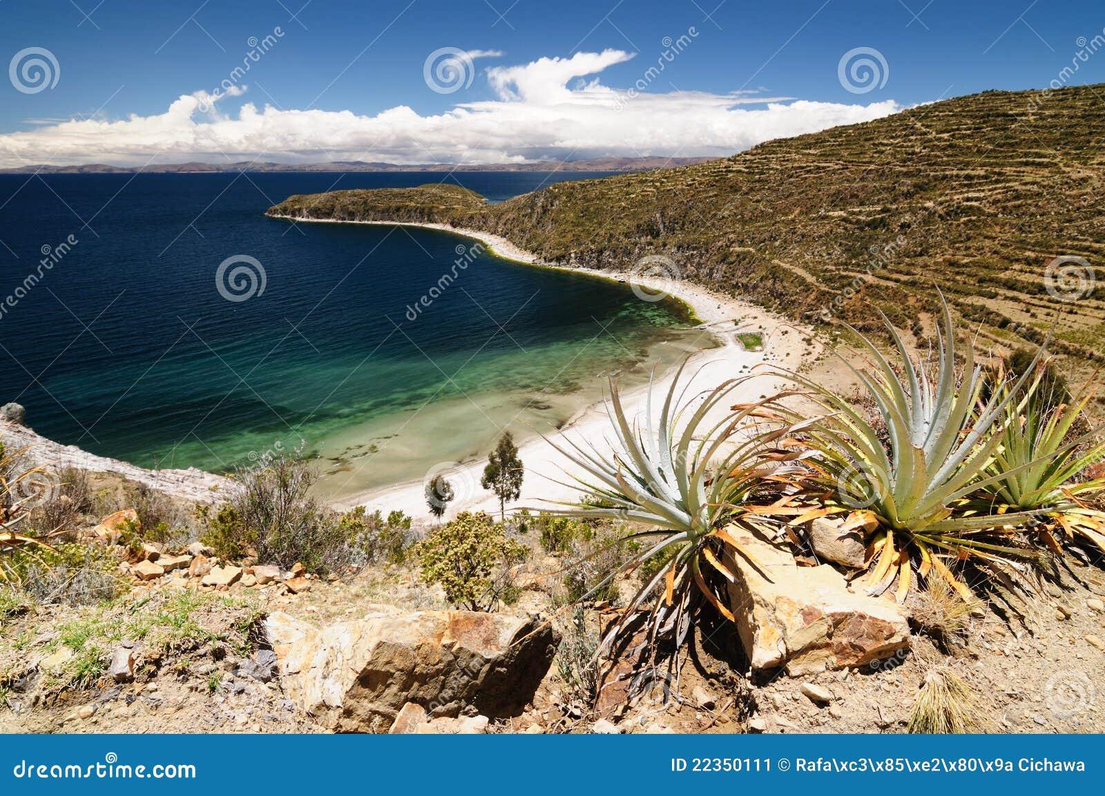 玻利维亚del isla湖横向sol titicaca