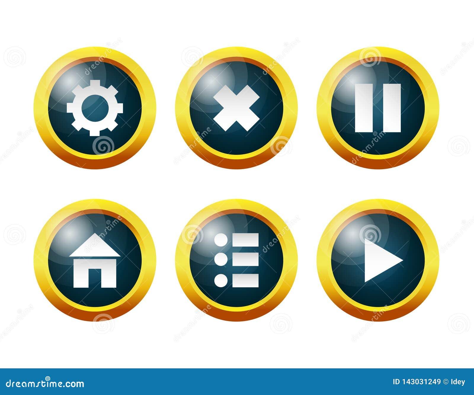 玻璃按钮:设置,菜单,家,停留,继续,退出比赛