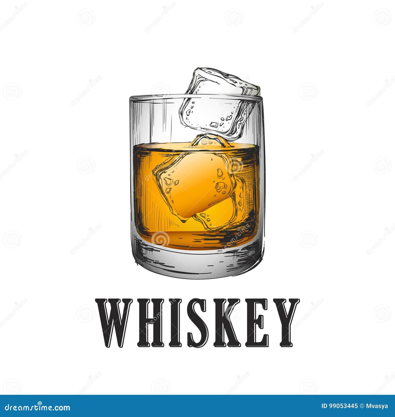 玻璃查出的反映威士忌酒白色 手拉的饮料传染媒介例证