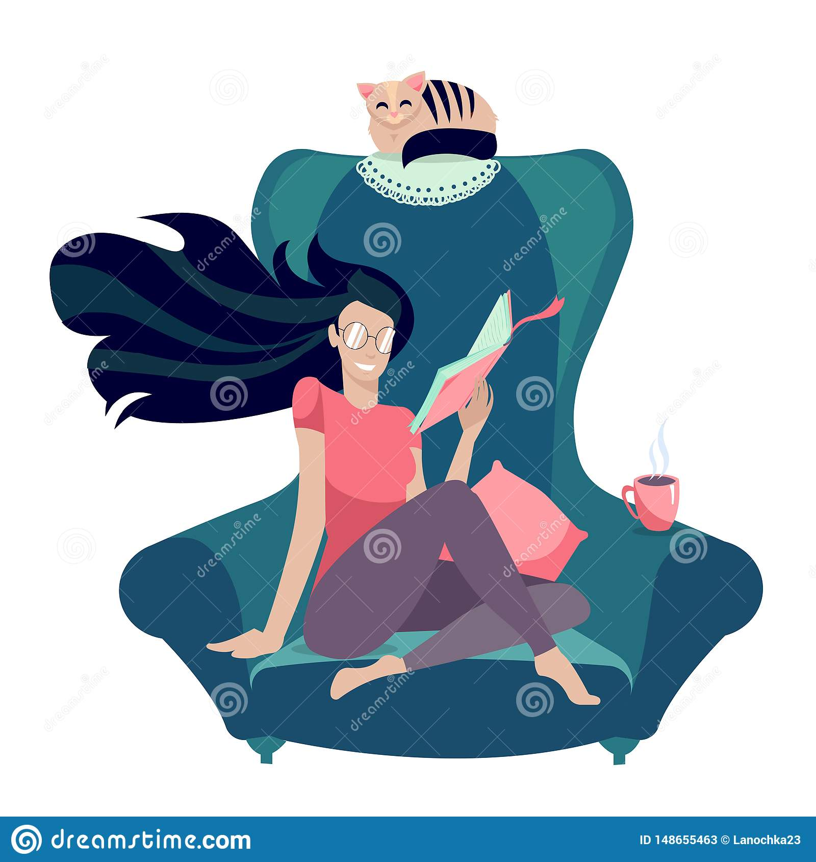玻璃的女孩读在扶手椅子的一本书有猫的 风格化字符:年轻女人在家 看书葡萄酒
