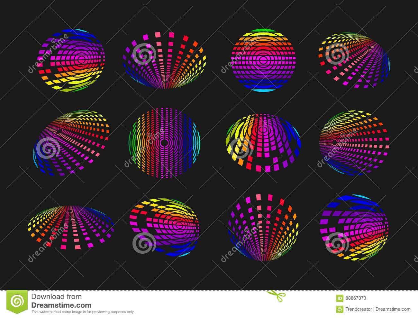 球形轻的技术商标、地球合理的象、现代标志通信、数字资料元素和连接技术构思设计