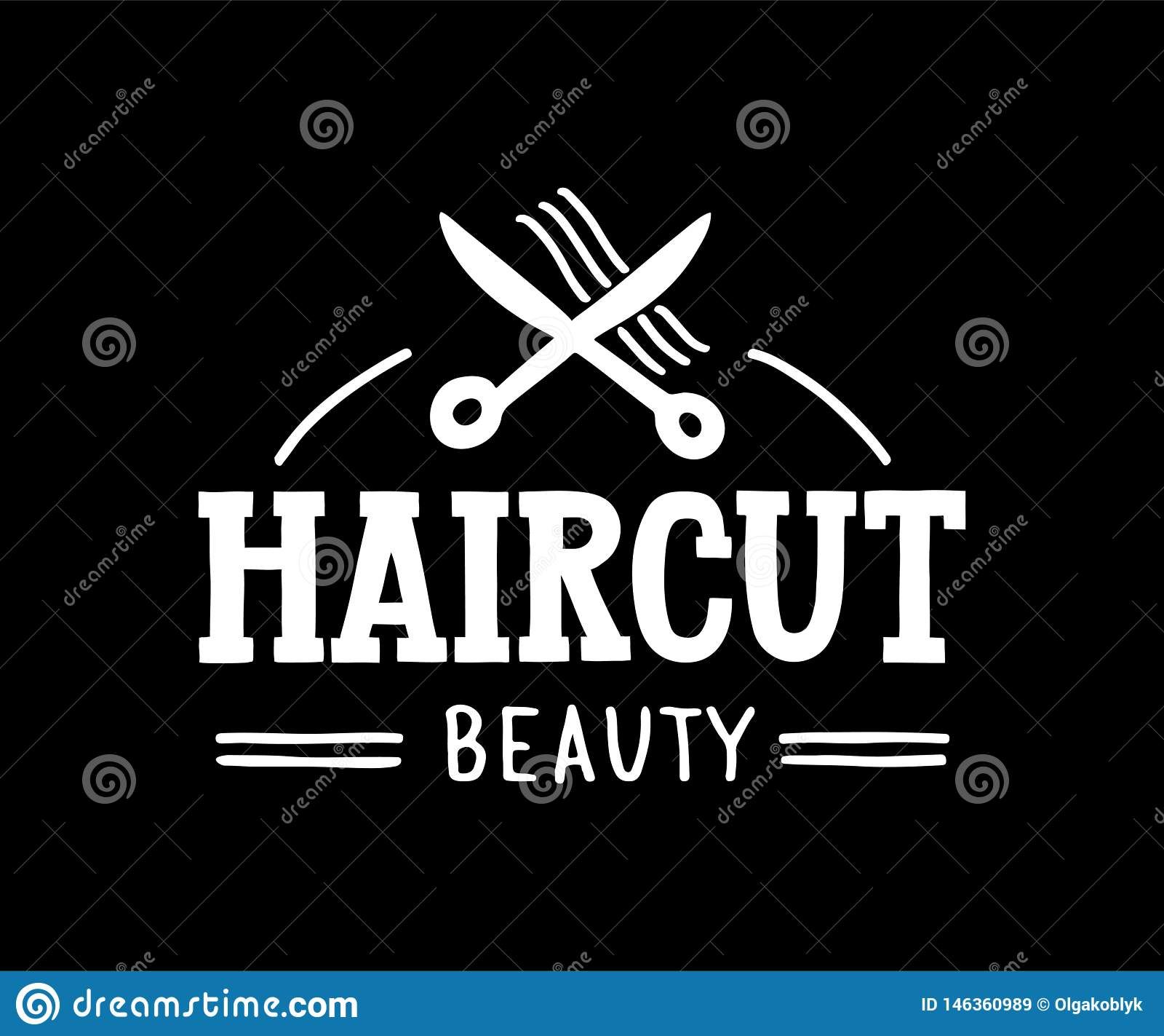 理发秀丽-头发和发廊的手拉的商标与剪刀和头发标志