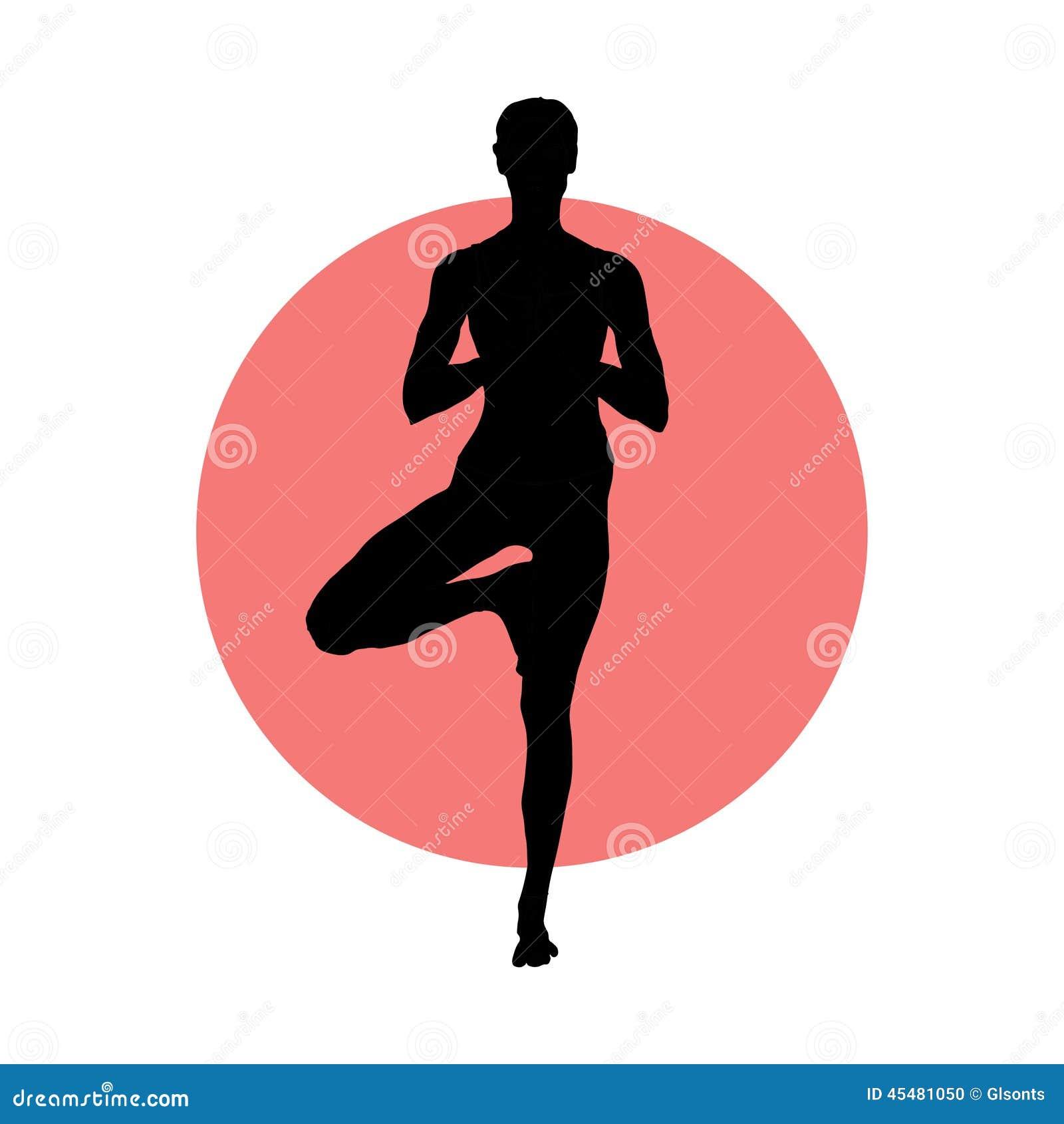 瑜伽姿势的女孩在圈子背景 EPS, JPG