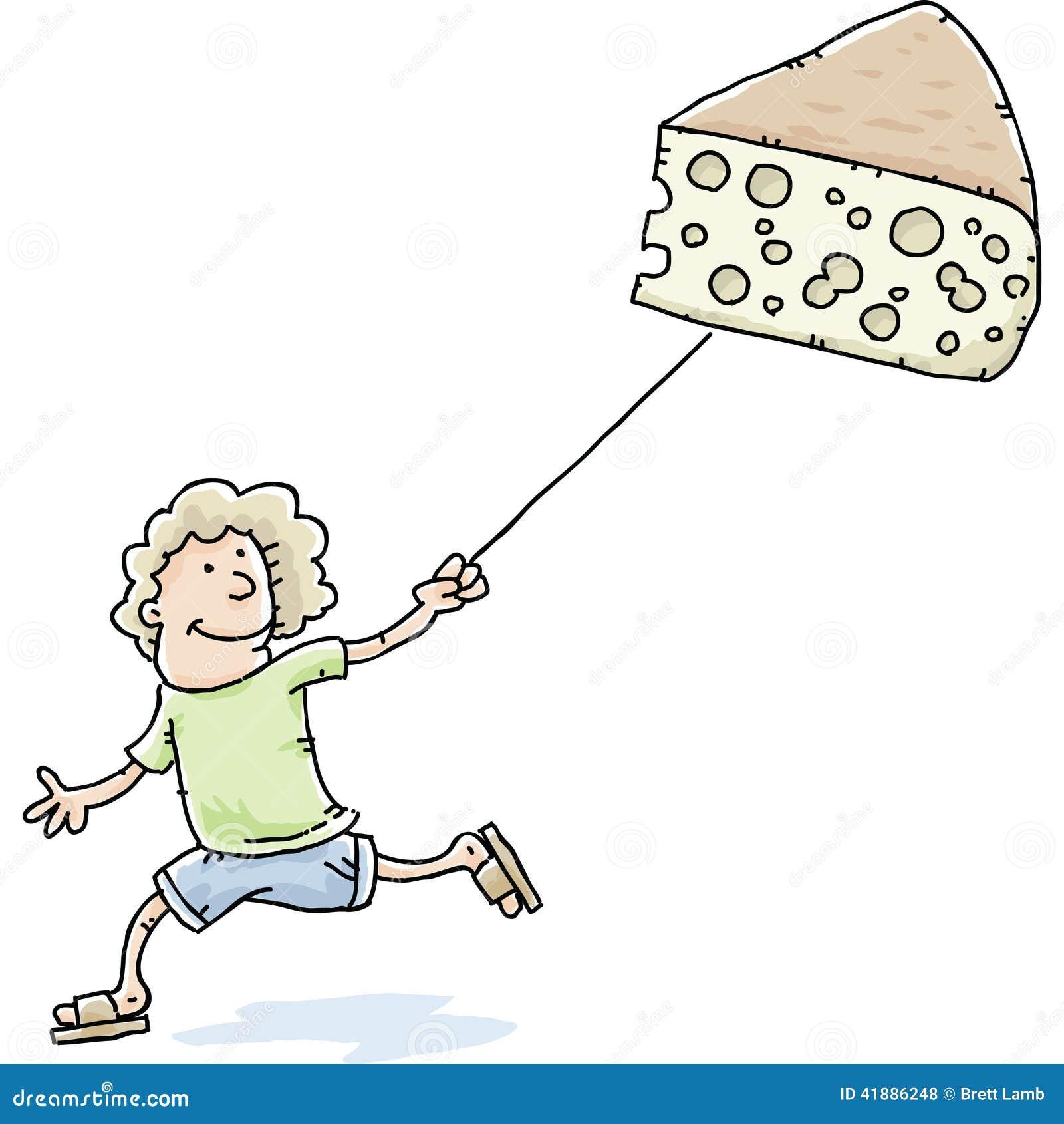 用她的瑞士乳酪的动画片妇女作为风筝.图片