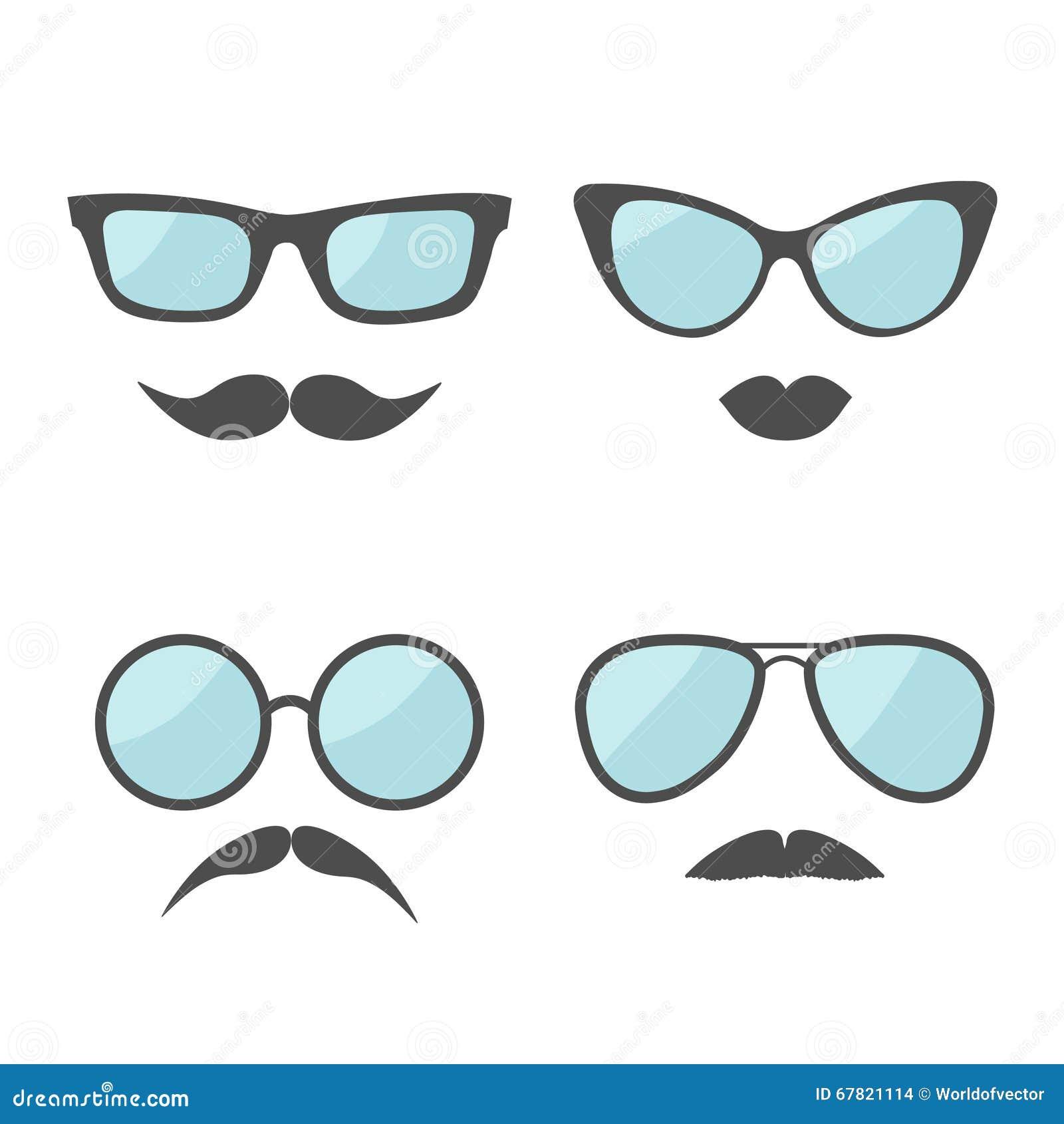 玻璃和髭嘴唇髭面孔象集合 奶油被装载的饼干 平的设计