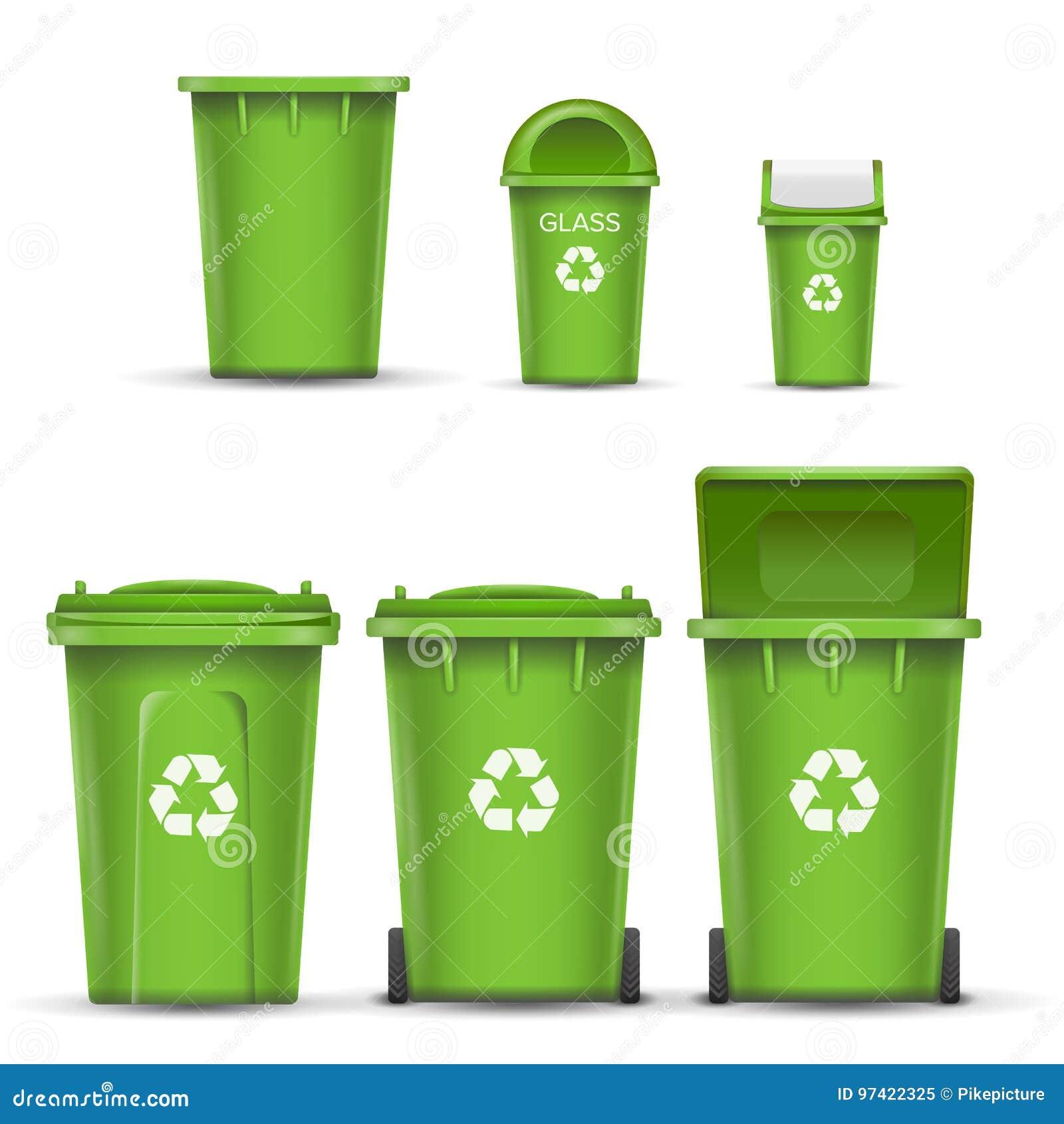 玻璃垃圾的绿色回收站桶传染媒介 打开和关闭 正面图 标志箭头 按钮查出的现有量例证推进s启动妇女