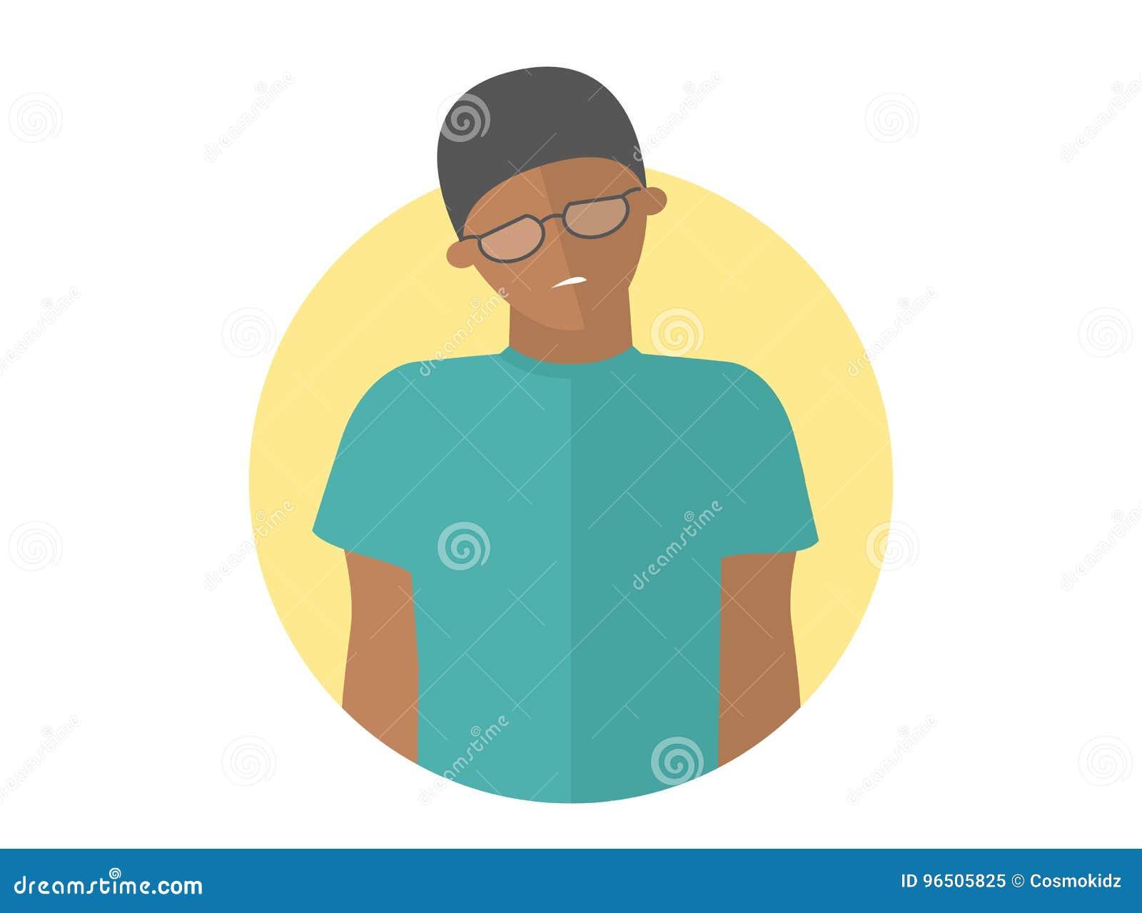 玻璃的微弱,哀伤,沮丧的黑人男孩 平的设计象 英俊的人激动衰弱消沉 完全编辑可能