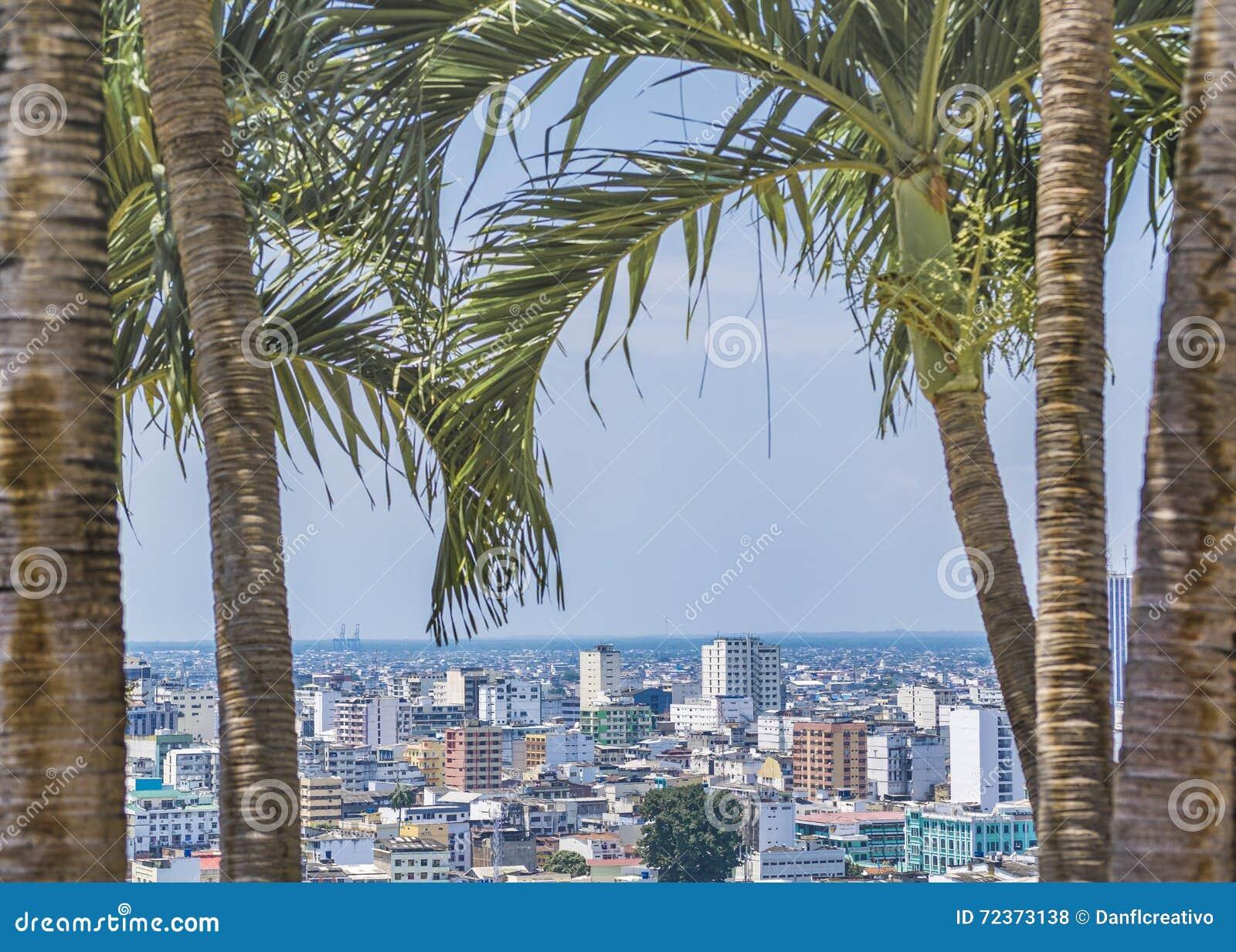 瓜亚基尔都市风景鸟瞰图