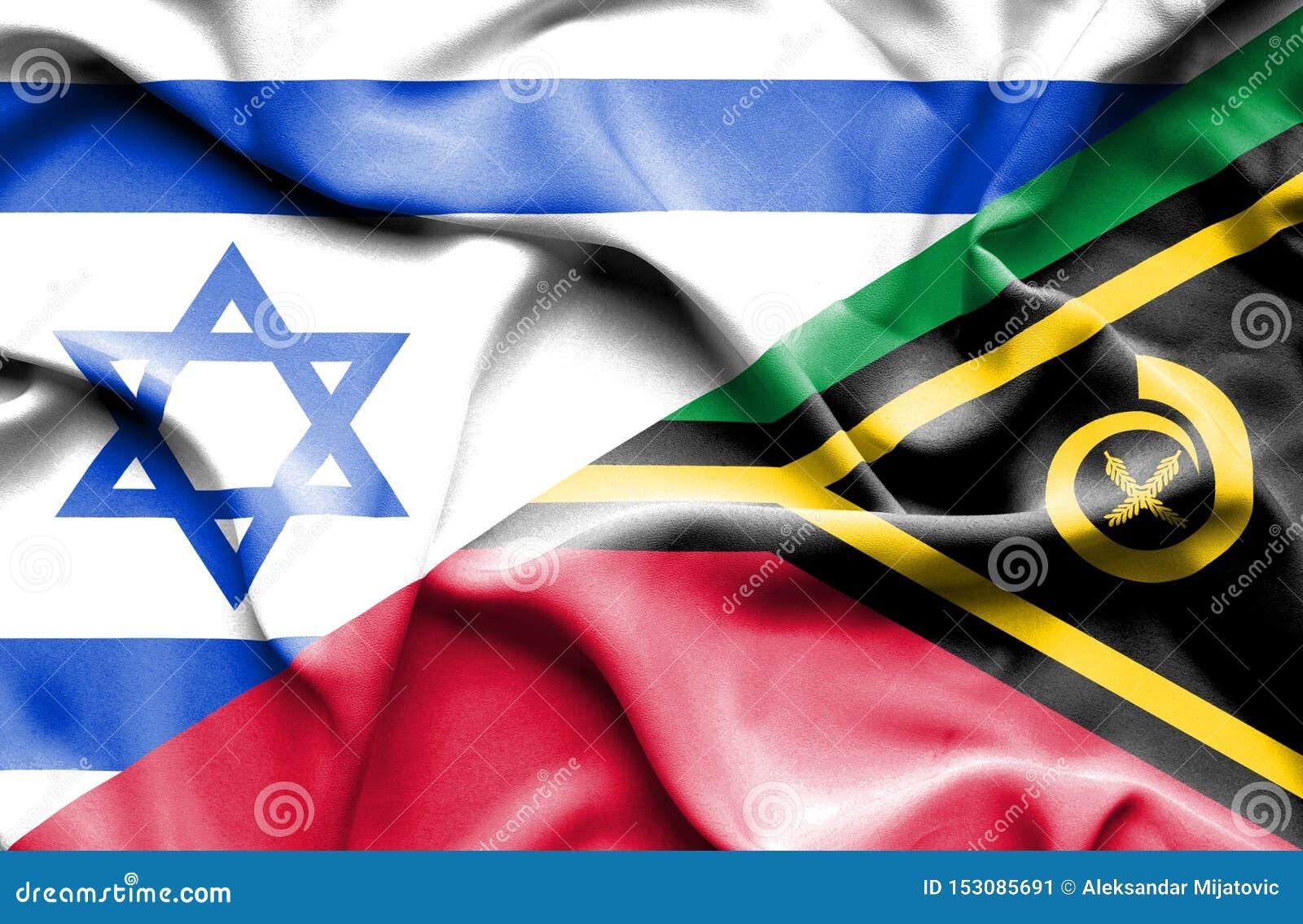 瓦努阿图和以色列的挥动的旗子
