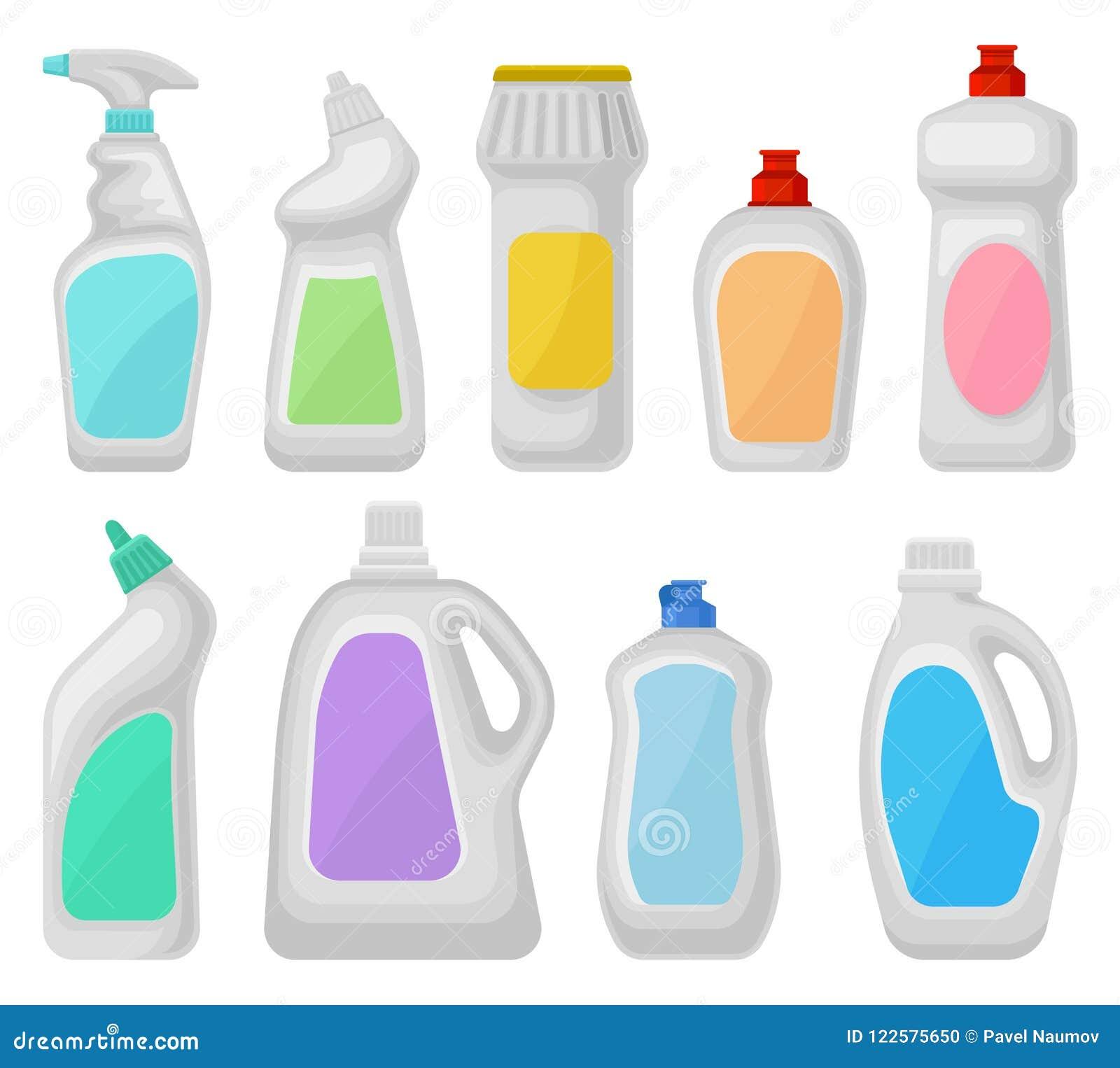 瓶洗涤剂集合,清洗化学制品容器的家庭导航在白色背景的例证