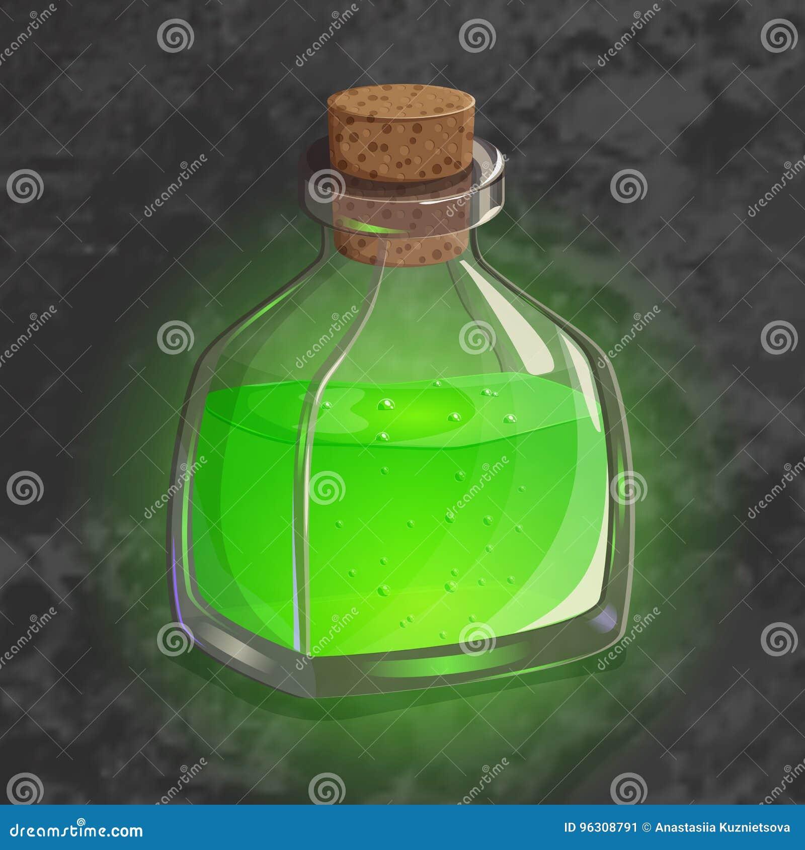 瓶用绿色魔药 不可思议的不老长寿药比赛象  app用户界面的明亮的设计 收缩,毒物,占卜