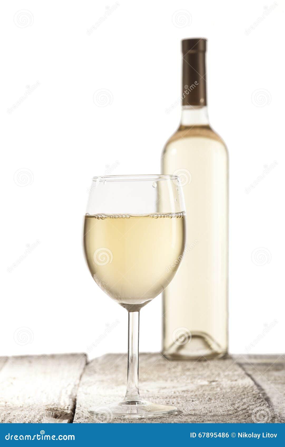 瓶白葡萄酒葡萄酒杯