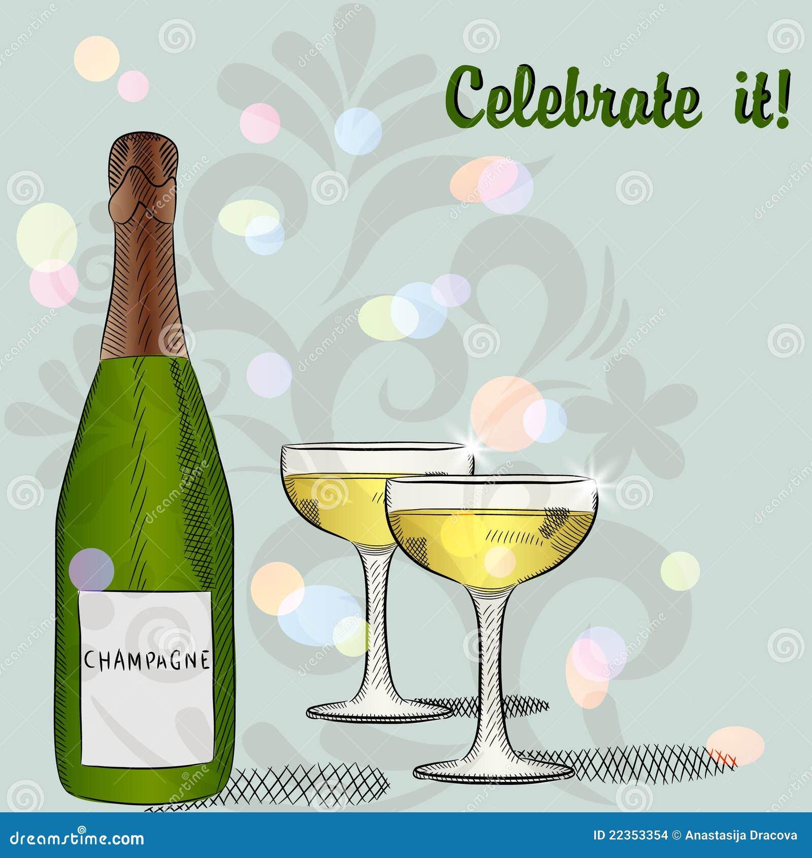 瓶香槟玻璃二