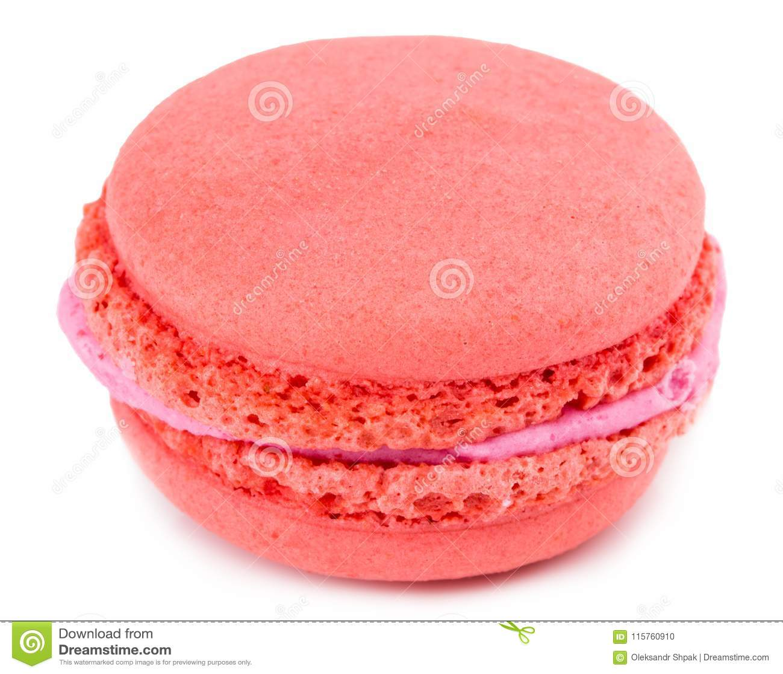 甜和五颜六色的法国蛋白杏仁饼干或macaron在白色backgro