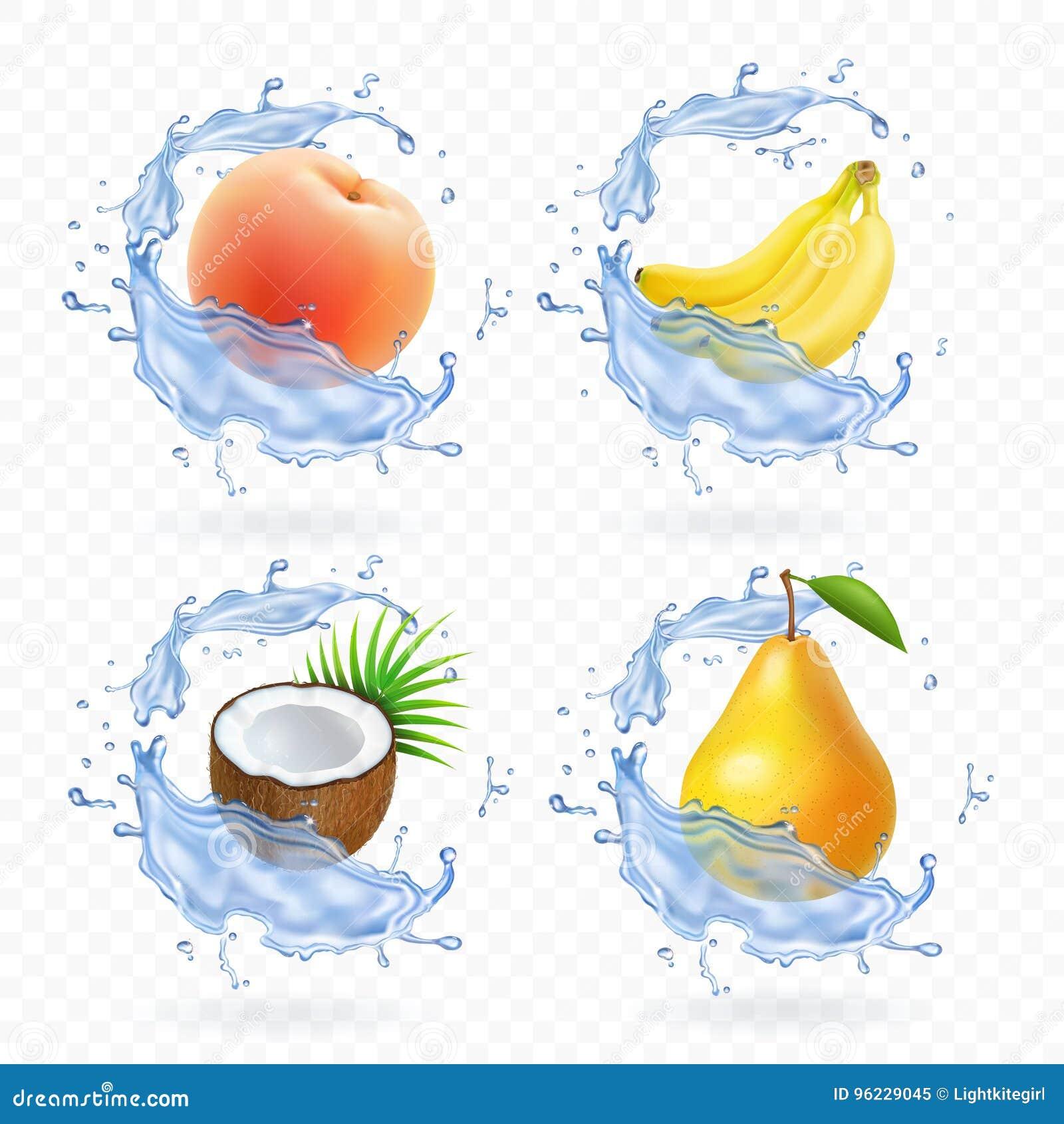 甜果子 香蕉、椰子、桃子、梨和杏子新鲜的汁现实例证 3d被设置的传染媒介象