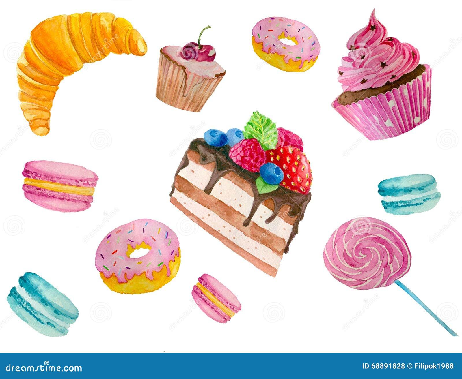 手绘画甜点的水彩例证:油炸圈饼,蛋糕, upcakes.图片