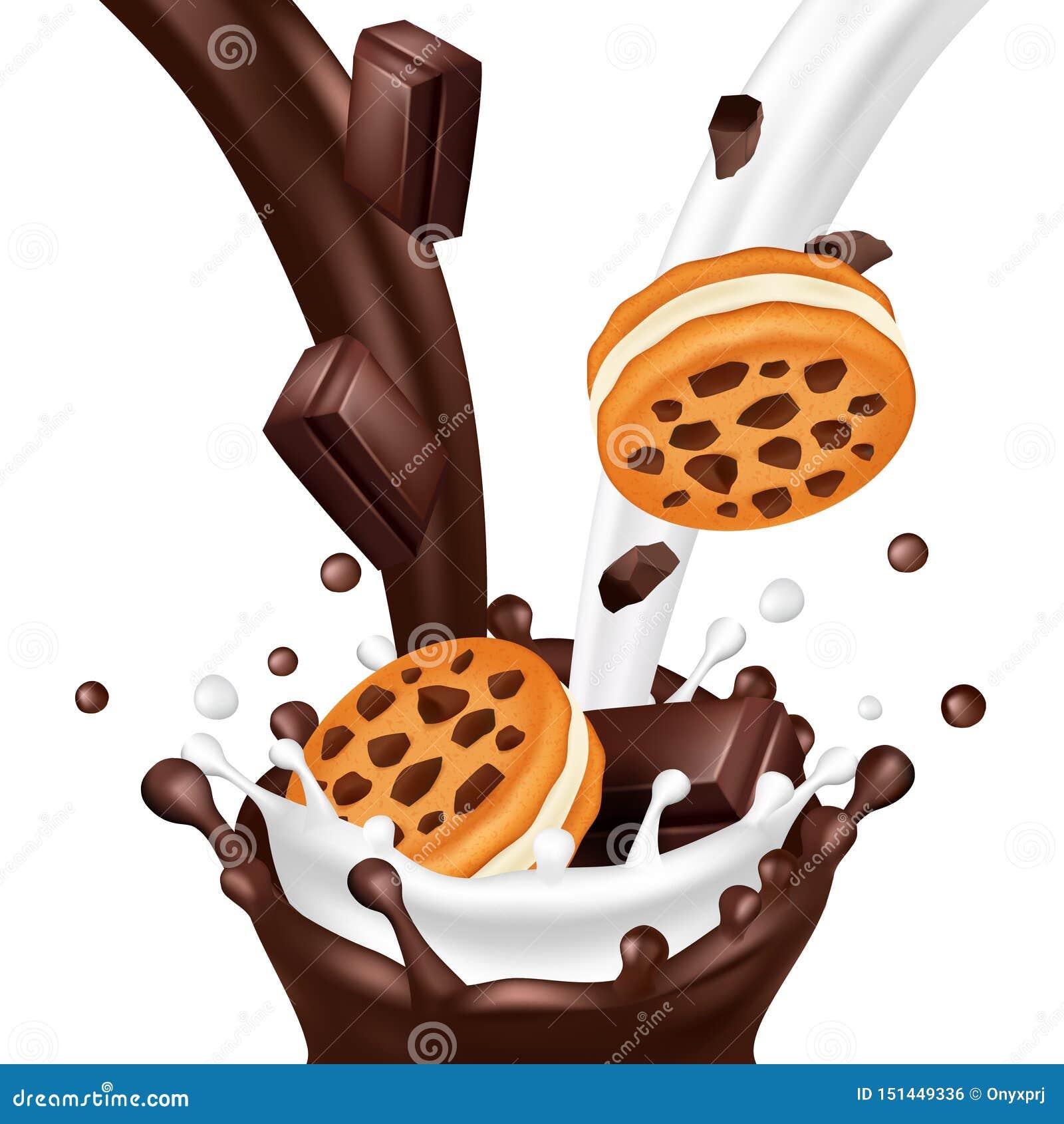 甜饼干用在白色背景隔绝的巧克力 现实牛奶和巧克力流动传染媒介例证