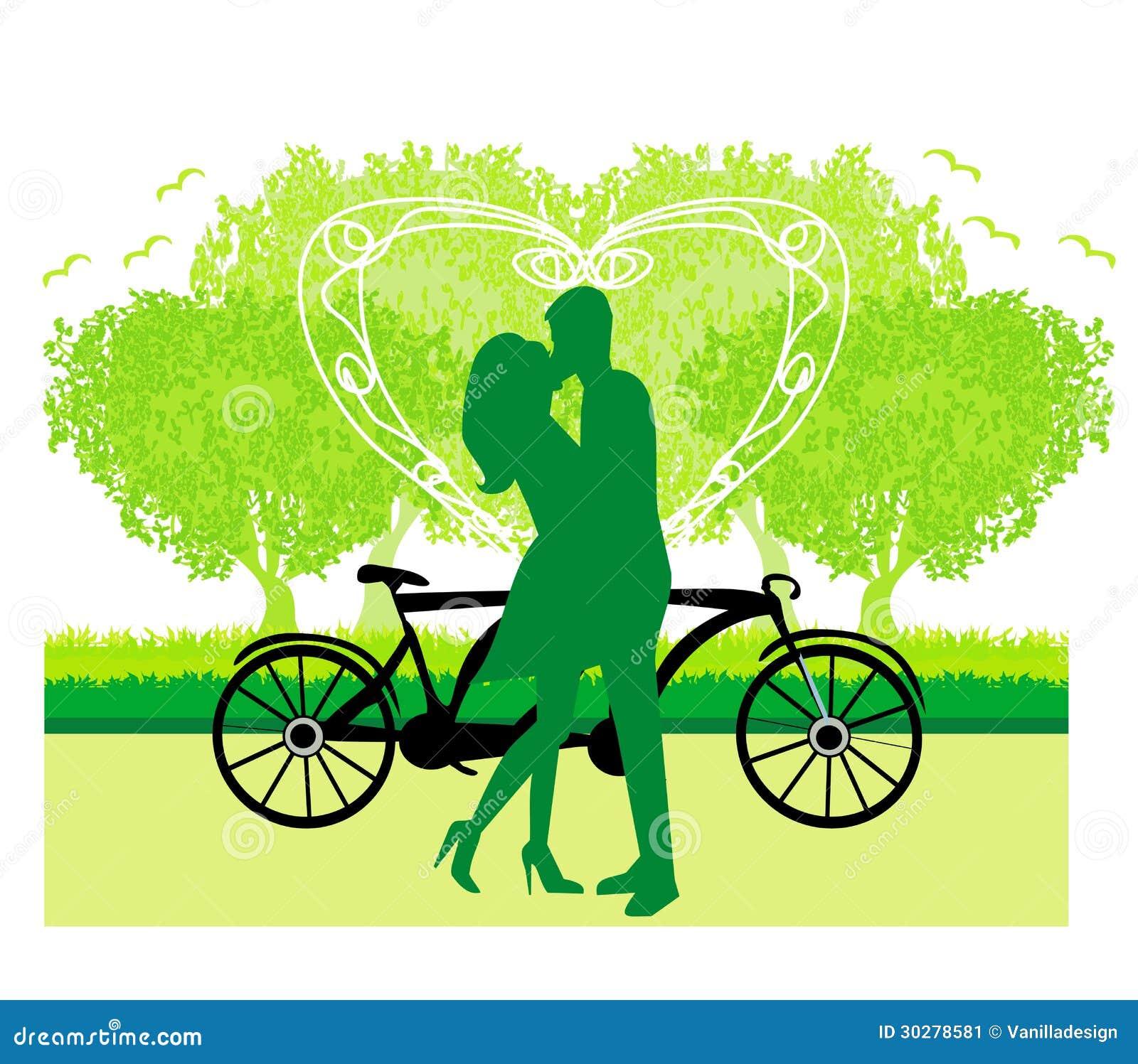 在站立在公园的爱的夫妇