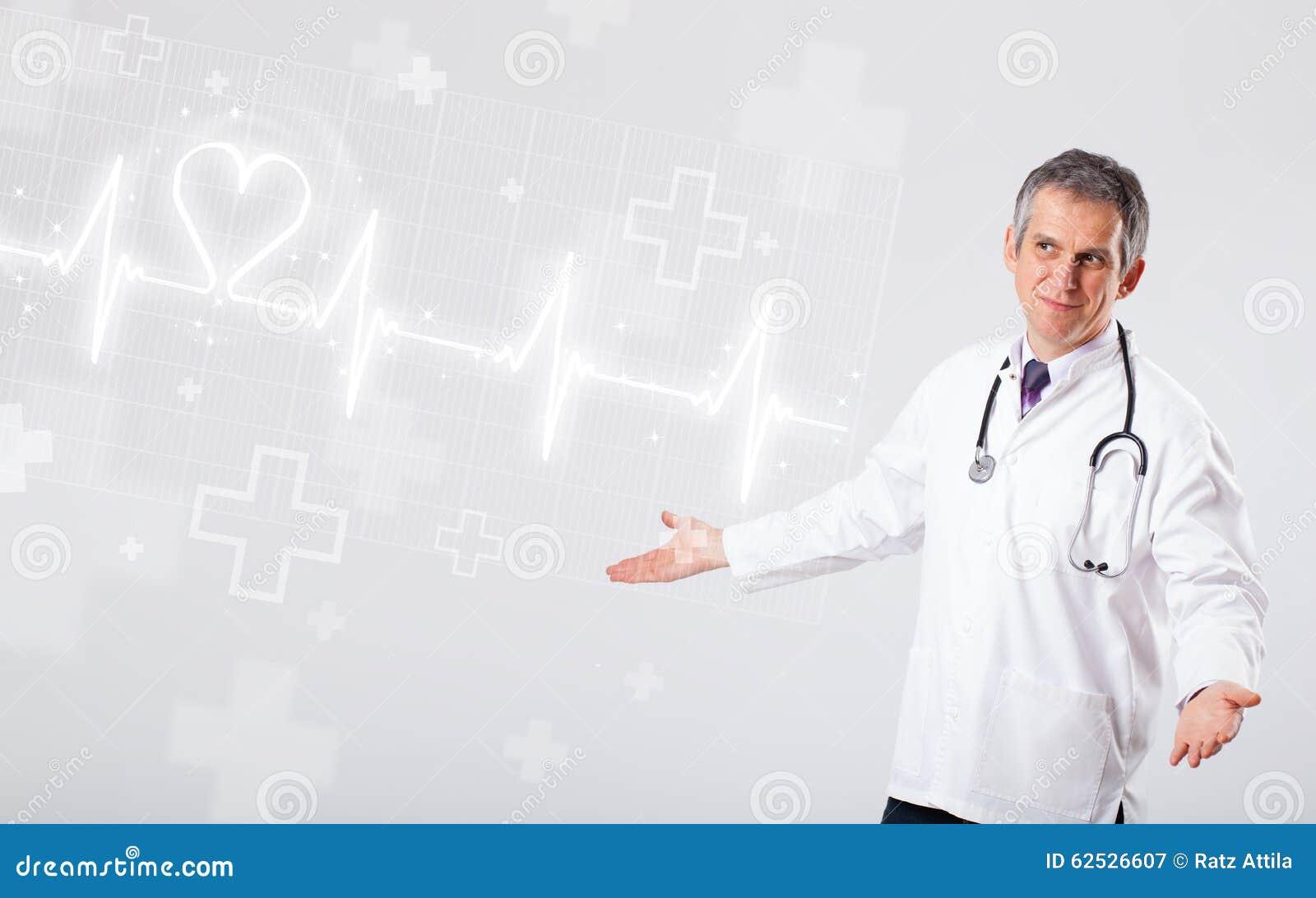 医生与抽象心脏的examinates心跳