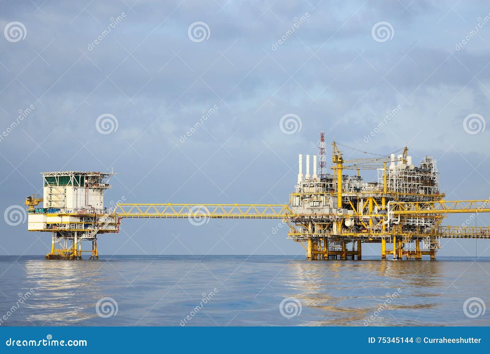 生产的近海建筑平台油和煤气,油和煤气产业和坚苦工作、生产平台和操作