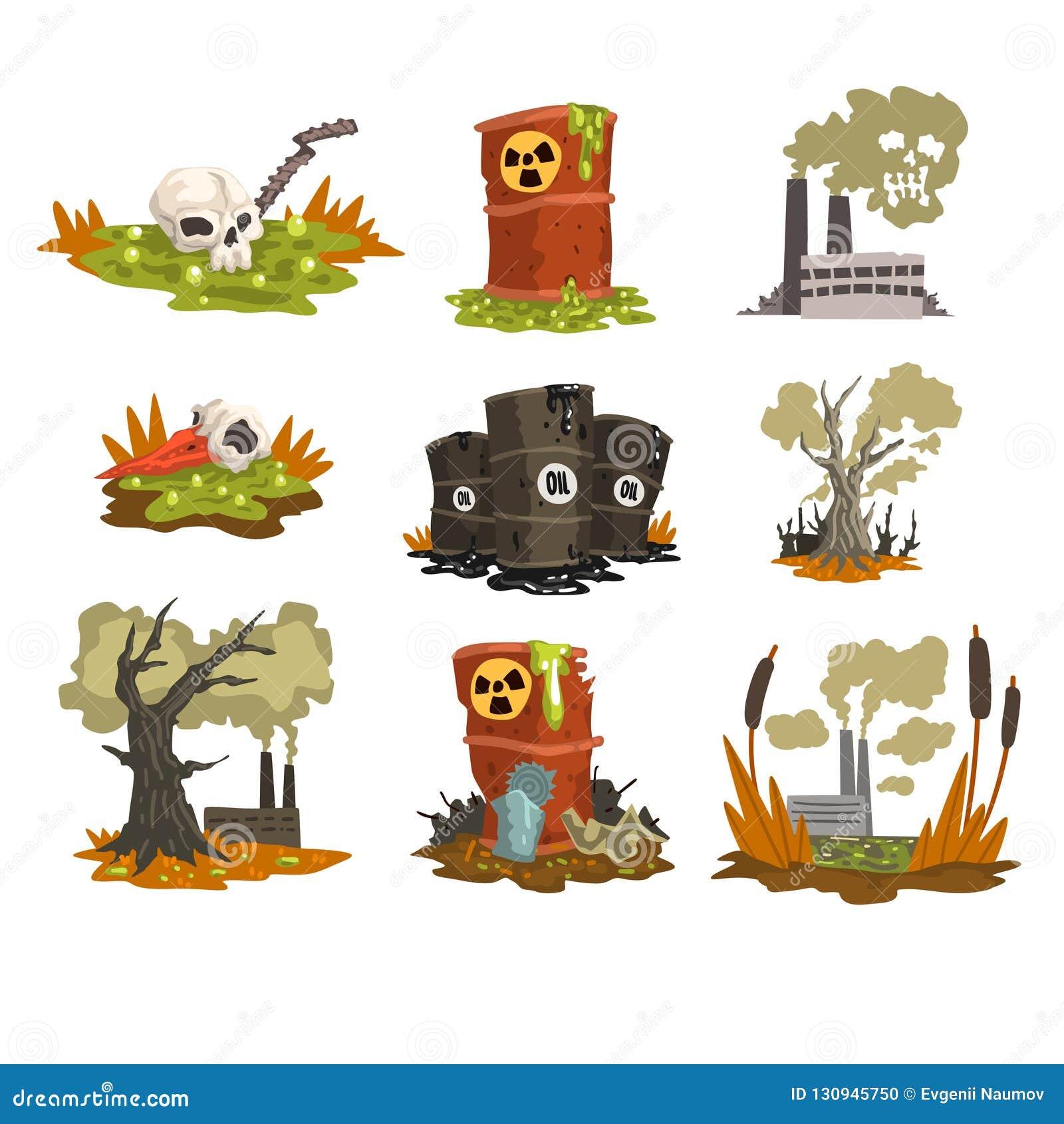 生态问题集合,水,地球,空气,环境污染概念在白色的传染媒介例证的污染