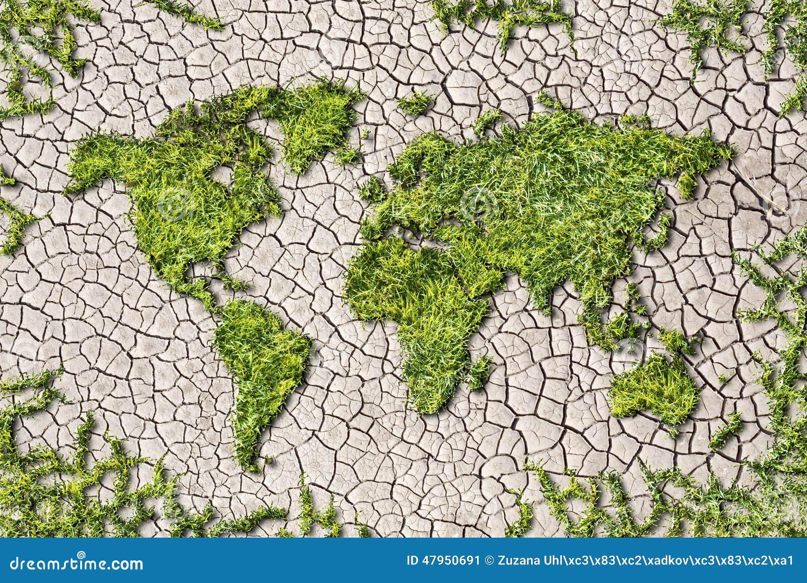 生态从草的世界地图在破裂的地球背景