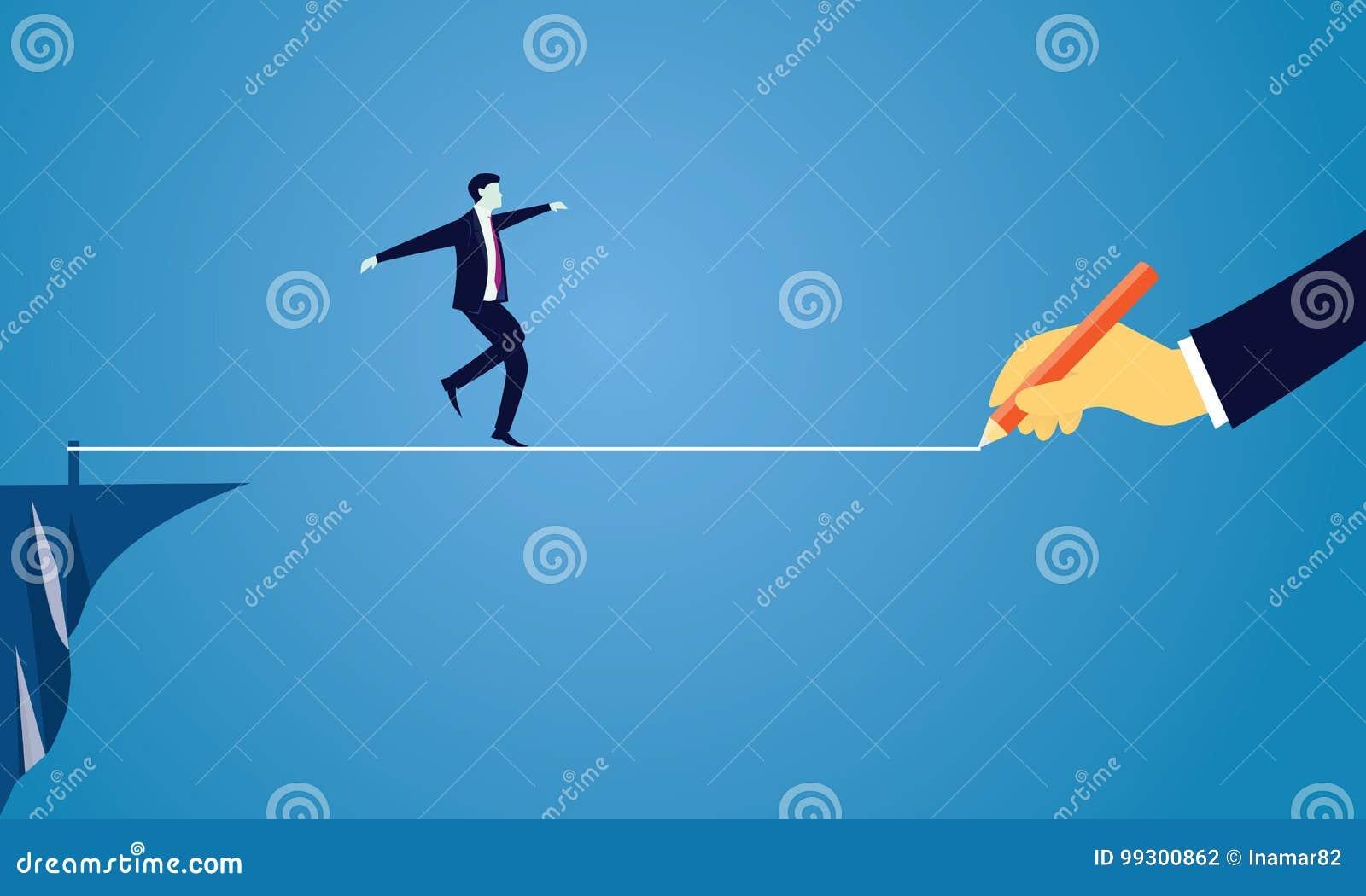 生意人绳索走 在企业概念的风险挑战