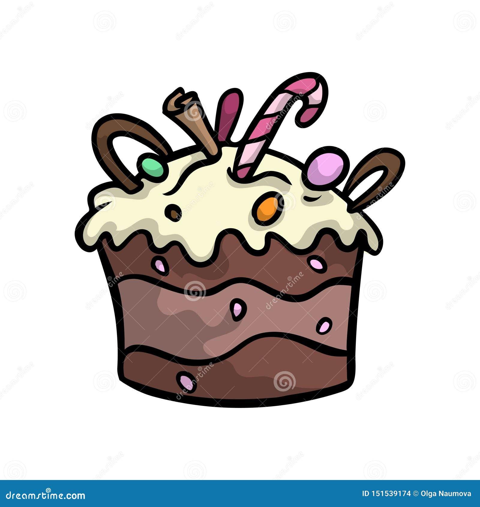 生日乳脂状的巧克力蛋糕用糖果棍子和坚果