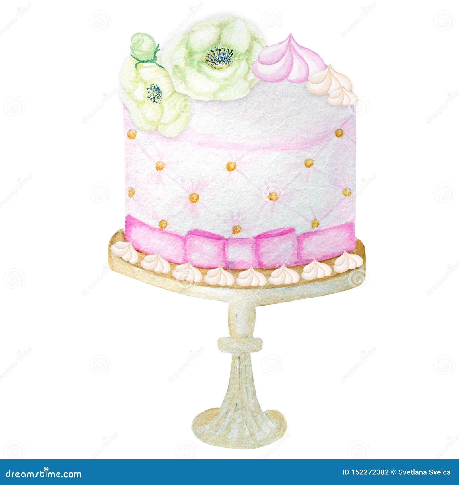 生日和婚姻的水彩蛋糕在白色背景 甜手拉的沙漠