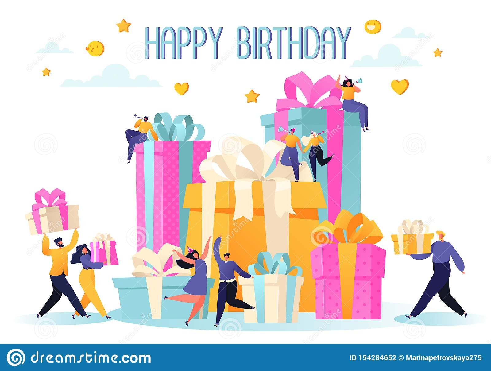 生日快乐与朋友的生日聚会庆祝 人们运载礼物,并且一个大蛋糕,吹他们的口哨,跳舞和庆祝hol