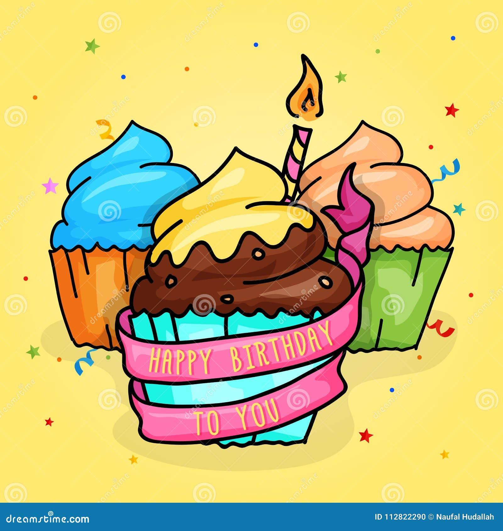 生日快乐与蜡烛和丝带的杯蛋糕 手拉的样式例证