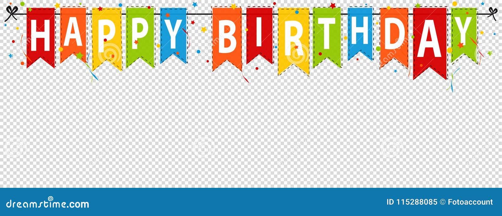 生日快乐横幅,在透明-编辑可能的传染媒介例证-隔绝的背景