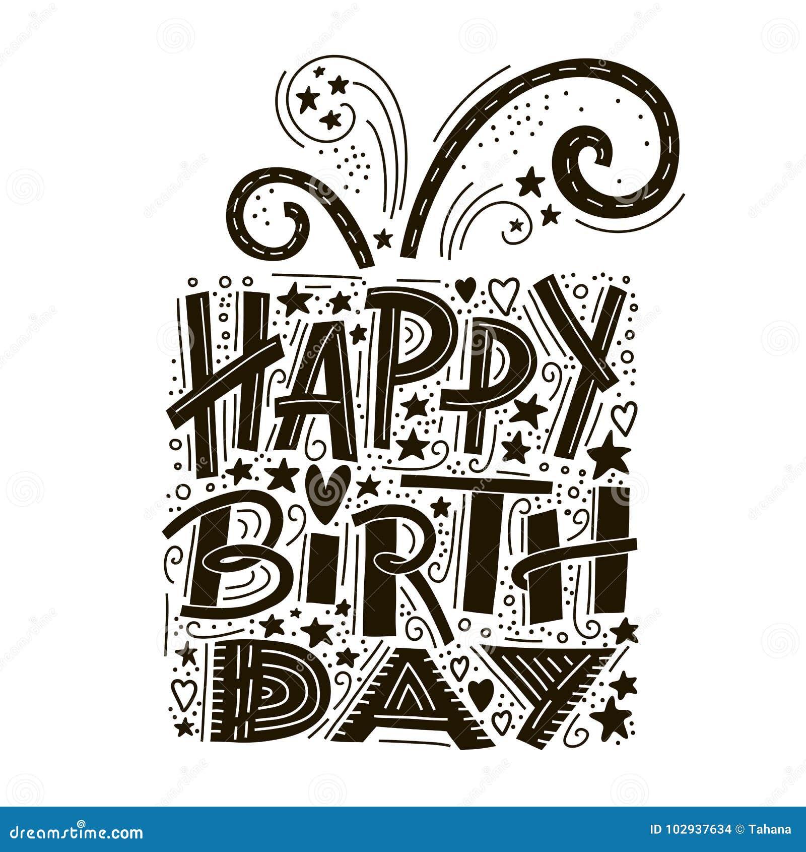 生日快乐贺卡字法 手拉的邀请 印刷术背景 庆祝文本 手写