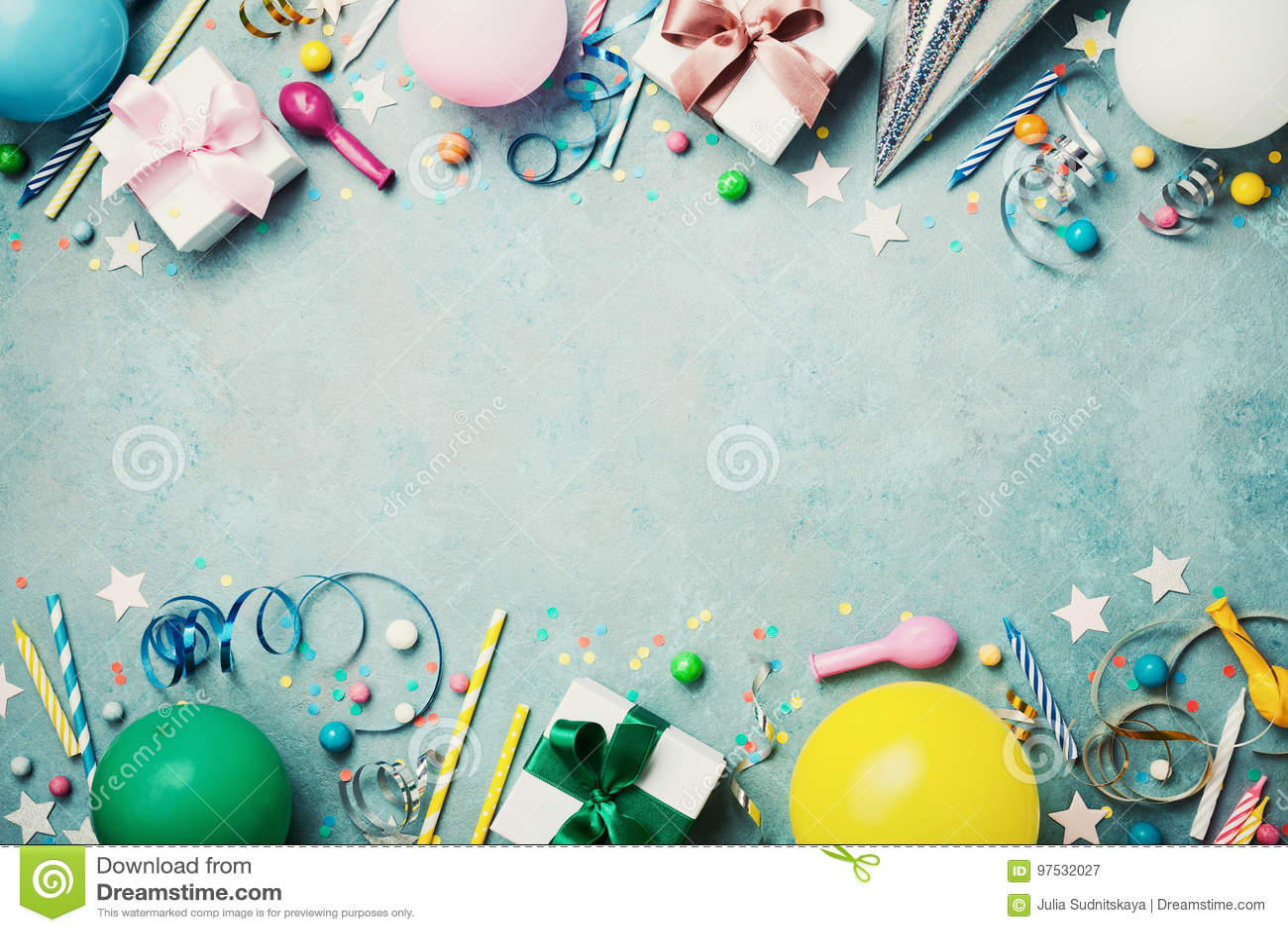 生日聚会横幅或背景与五颜六色的气球、礼物、狂欢节盖帽、五彩纸屑、糖果和飘带 平的位置样式