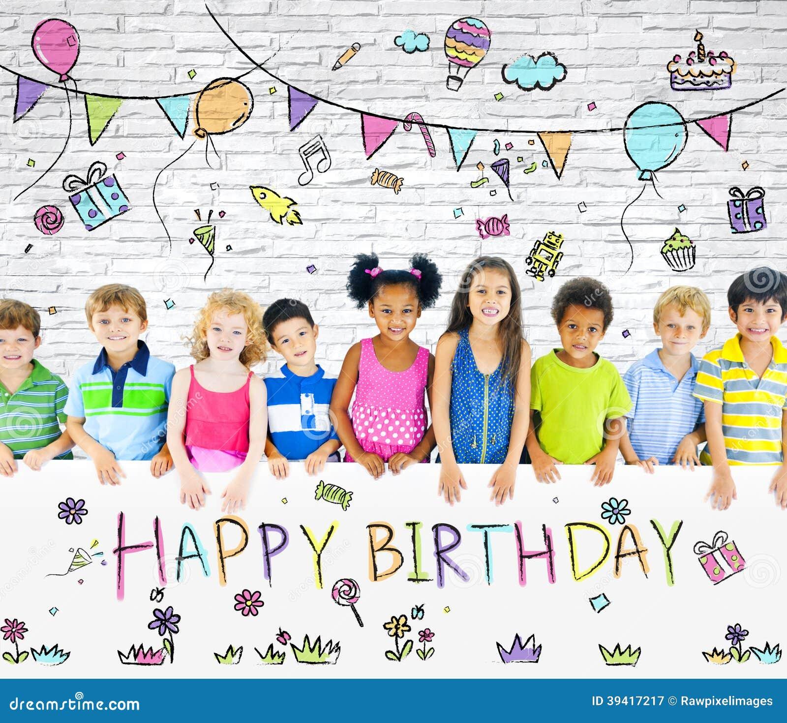 生日聚会的不同的孩子