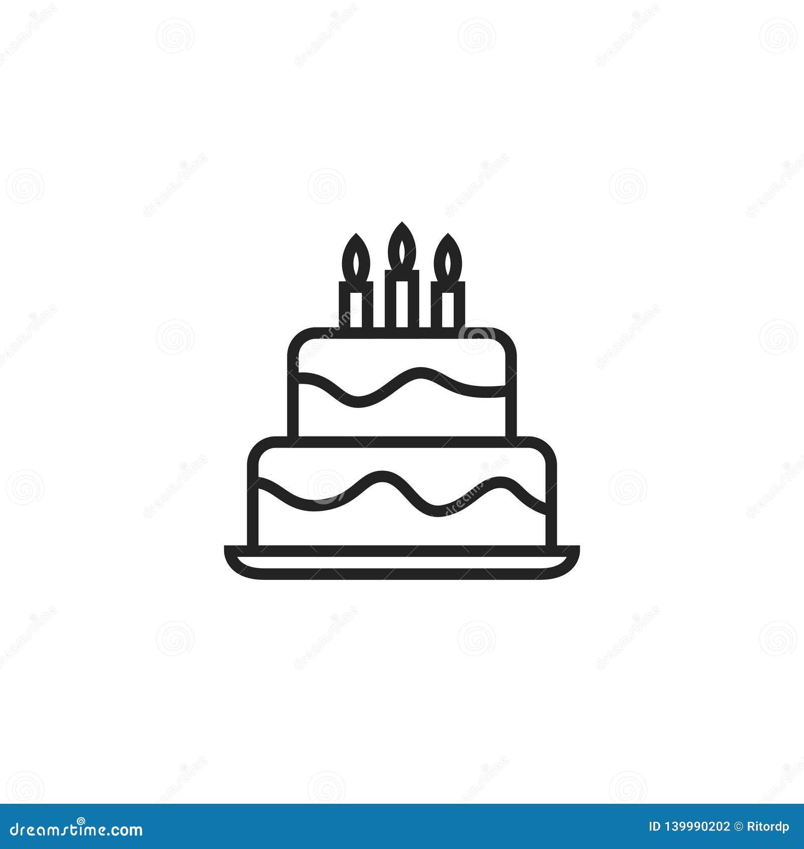 生日蛋糕Oultine传染媒介象、标志或者商标