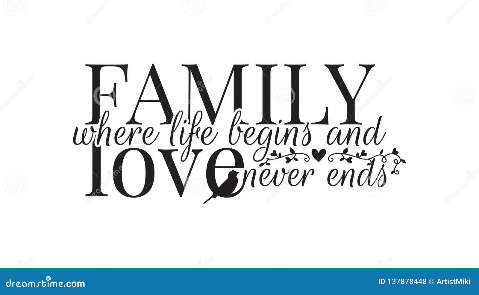 生活开始的家庭,和从未爱末端,墙壁标签,措辞设计