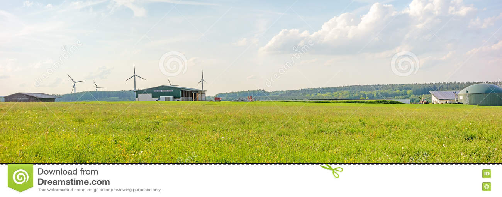 生物气植物,农场,全景