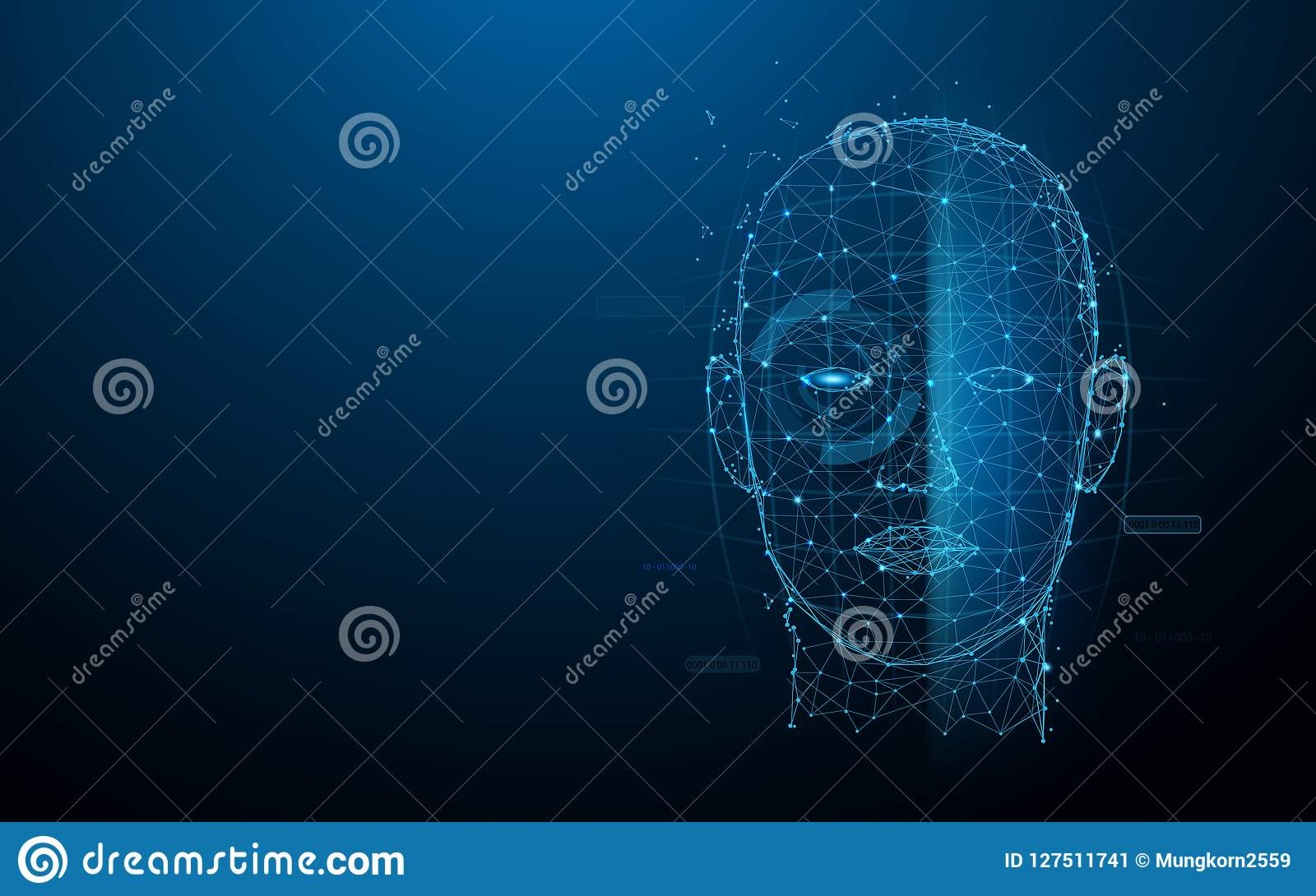 生物统计的技术数字式面孔扫描形式线、三角和微粒样式设计