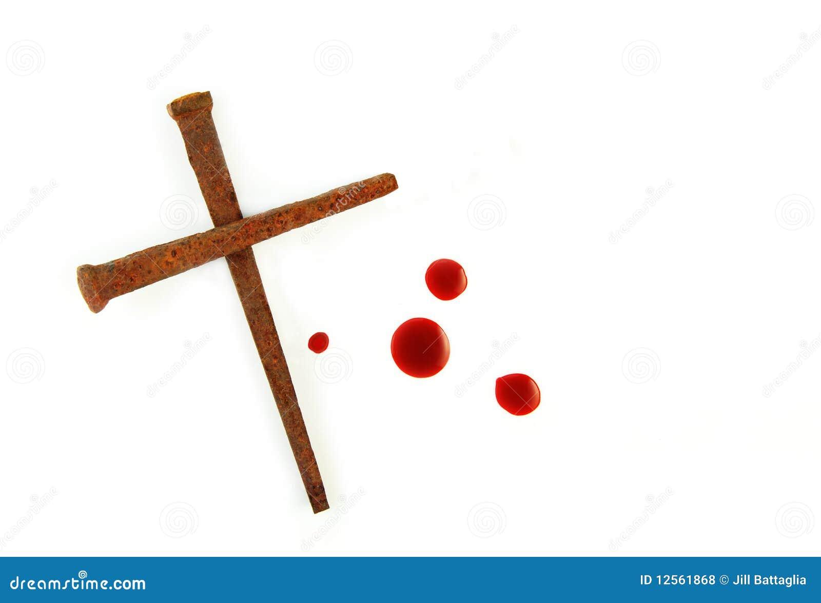 生锈血液交叉下落的钉子